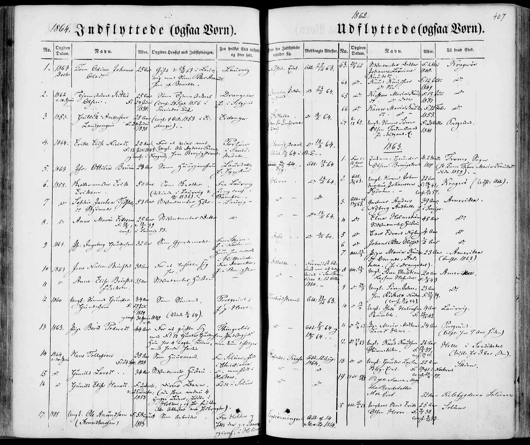 SAKO, Bamble kirkebøker, F/Fa/L0005: Ministerialbok nr. I 5, 1854-1869, s. 407
