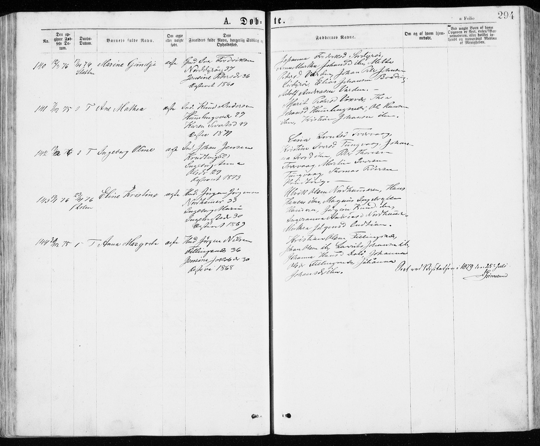 SAT, Ministerialprotokoller, klokkerbøker og fødselsregistre - Sør-Trøndelag, 640/L0576: Ministerialbok nr. 640A01, 1846-1876, s. 294