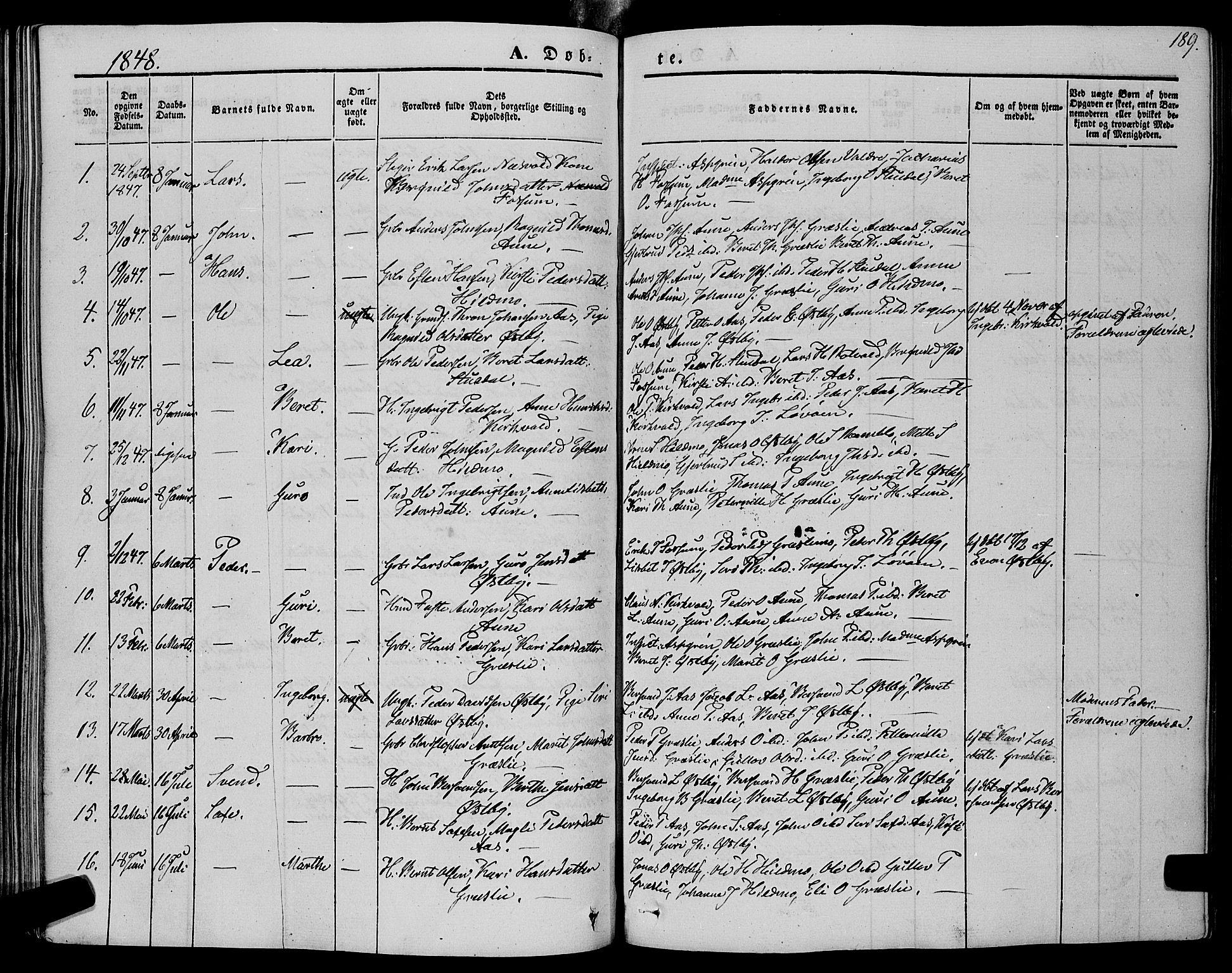 SAT, Ministerialprotokoller, klokkerbøker og fødselsregistre - Sør-Trøndelag, 695/L1146: Ministerialbok nr. 695A06 /2, 1843-1859, s. 189
