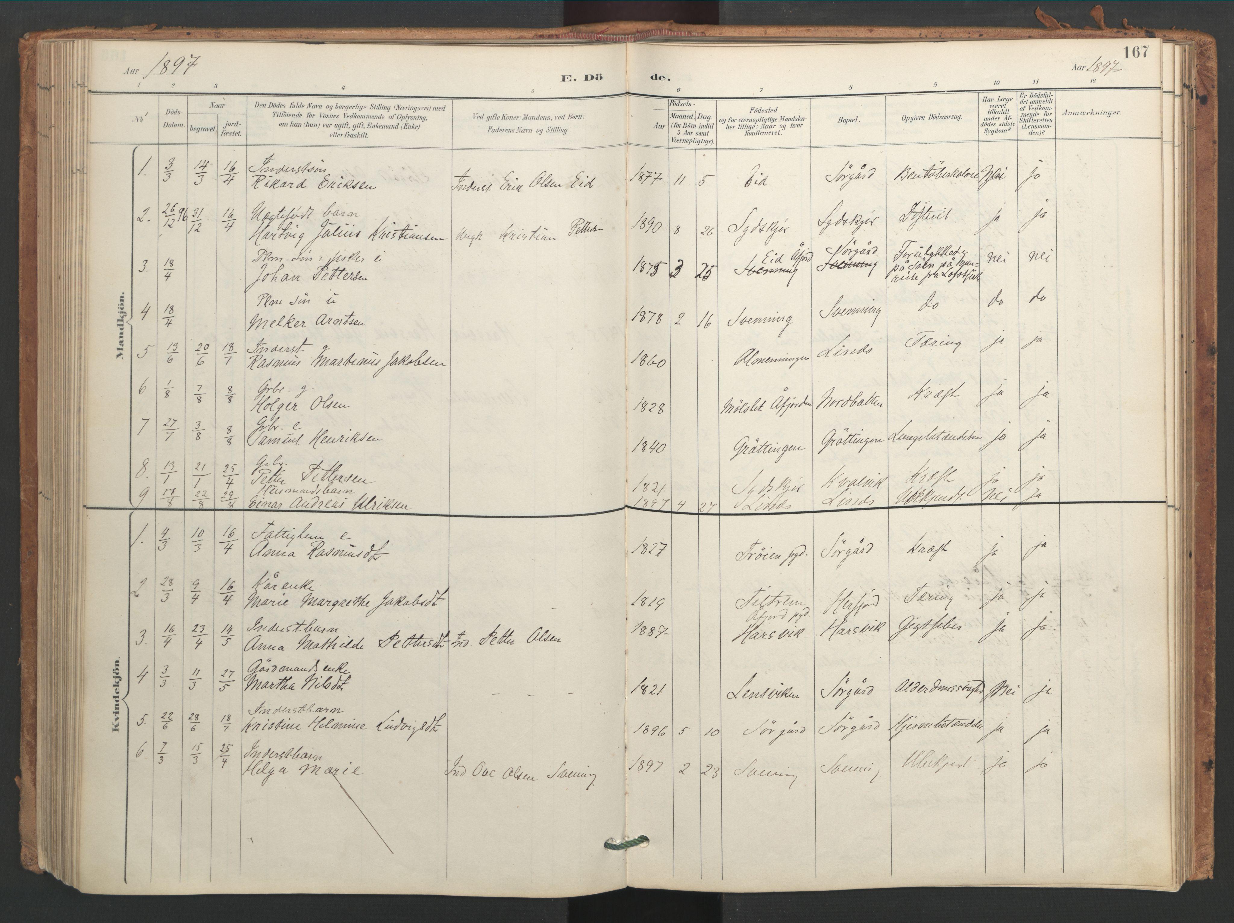 SAT, Ministerialprotokoller, klokkerbøker og fødselsregistre - Sør-Trøndelag, 656/L0693: Ministerialbok nr. 656A02, 1894-1913, s. 167