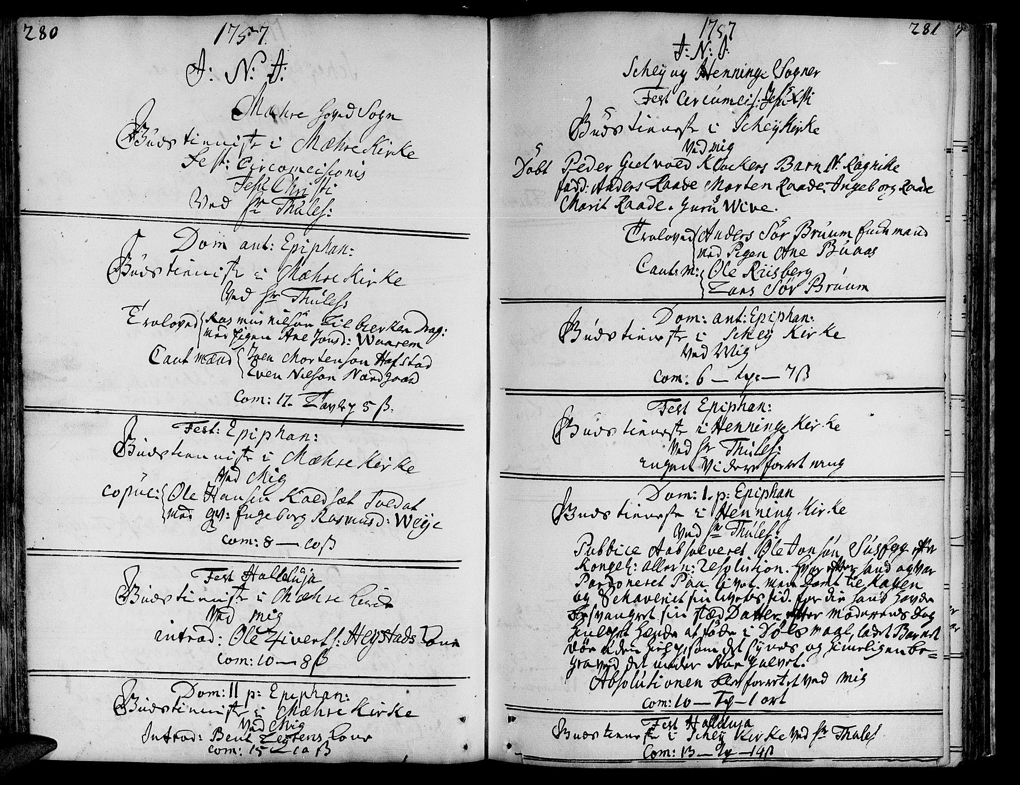 SAT, Ministerialprotokoller, klokkerbøker og fødselsregistre - Nord-Trøndelag, 735/L0330: Ministerialbok nr. 735A01, 1740-1766, s. 280-281