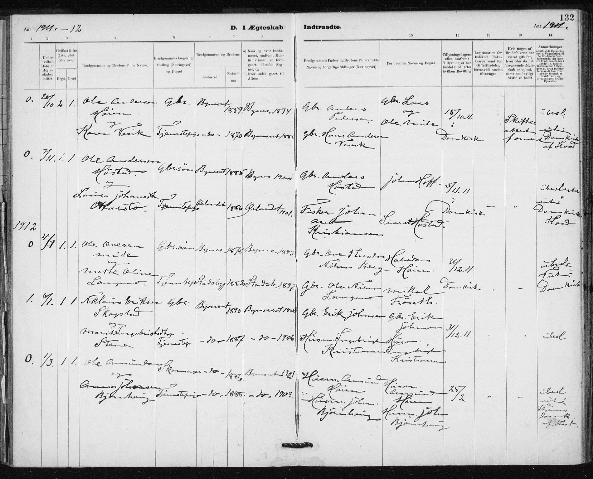 SAT, Ministerialprotokoller, klokkerbøker og fødselsregistre - Sør-Trøndelag, 612/L0381: Ministerialbok nr. 612A13, 1907-1923, s. 132