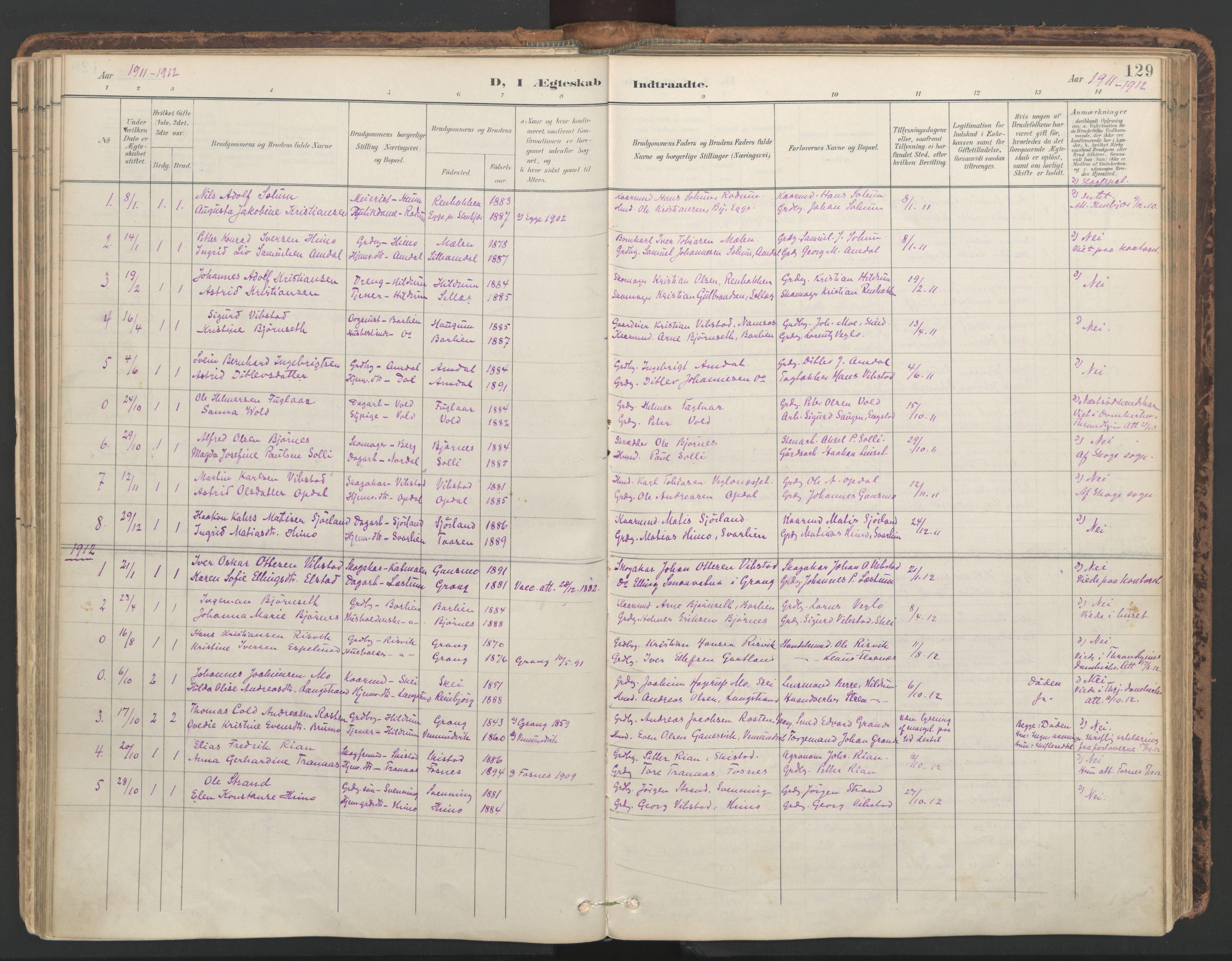 SAT, Ministerialprotokoller, klokkerbøker og fødselsregistre - Nord-Trøndelag, 764/L0556: Ministerialbok nr. 764A11, 1897-1924, s. 129