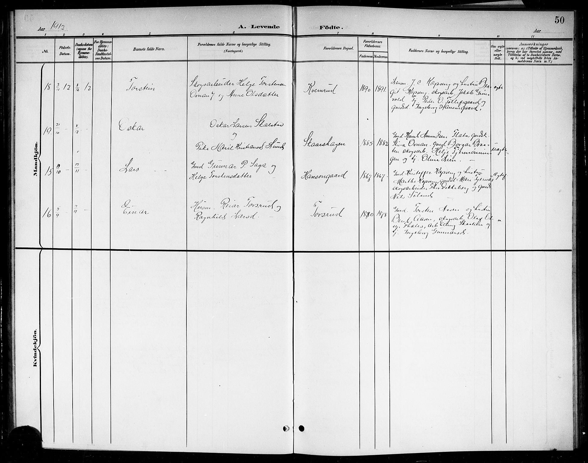 SAKO, Sigdal kirkebøker, G/Gb/L0003: Klokkerbok nr. II 3, 1901-1916, s. 50
