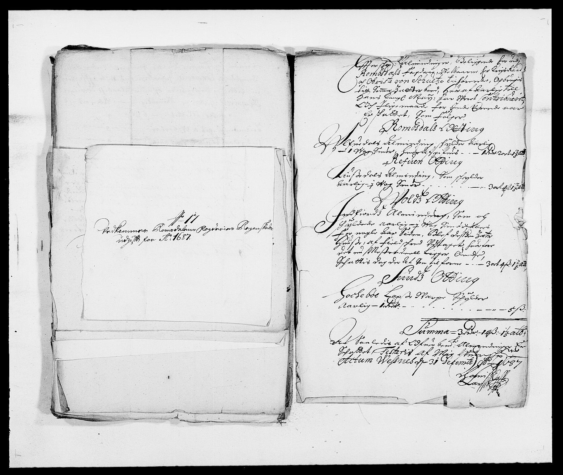 RA, Rentekammeret inntil 1814, Reviderte regnskaper, Fogderegnskap, R55/L3648: Fogderegnskap Romsdal, 1687-1689, s. 156