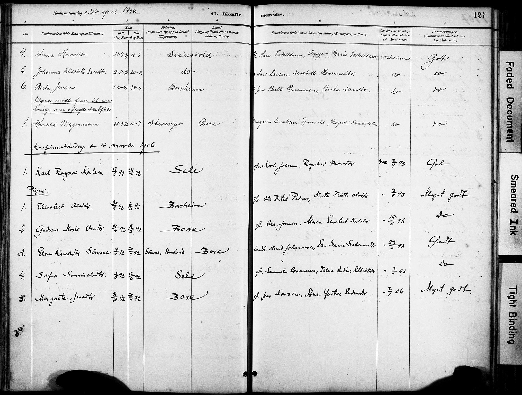 SAST, Klepp sokneprestkontor, 30BA/L0008: Ministerialbok nr. A 9, 1886-1919, s. 127