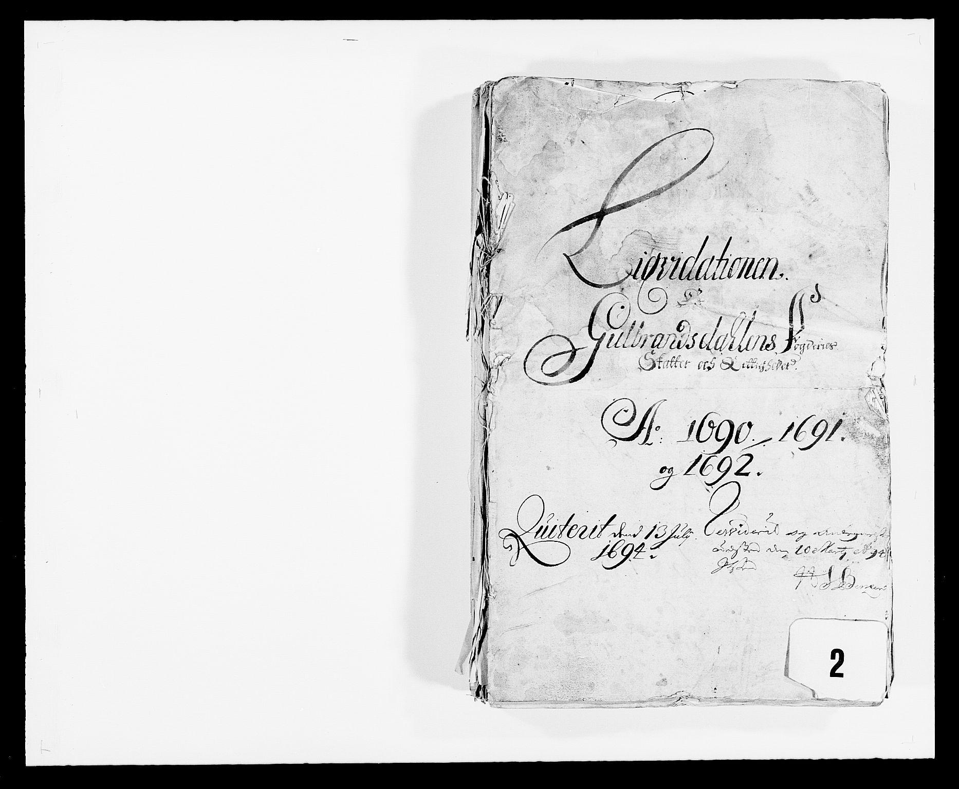 RA, Rentekammeret inntil 1814, Reviderte regnskaper, Fogderegnskap, R17/L1165: Fogderegnskap Gudbrandsdal, 1690-1692, s. 1