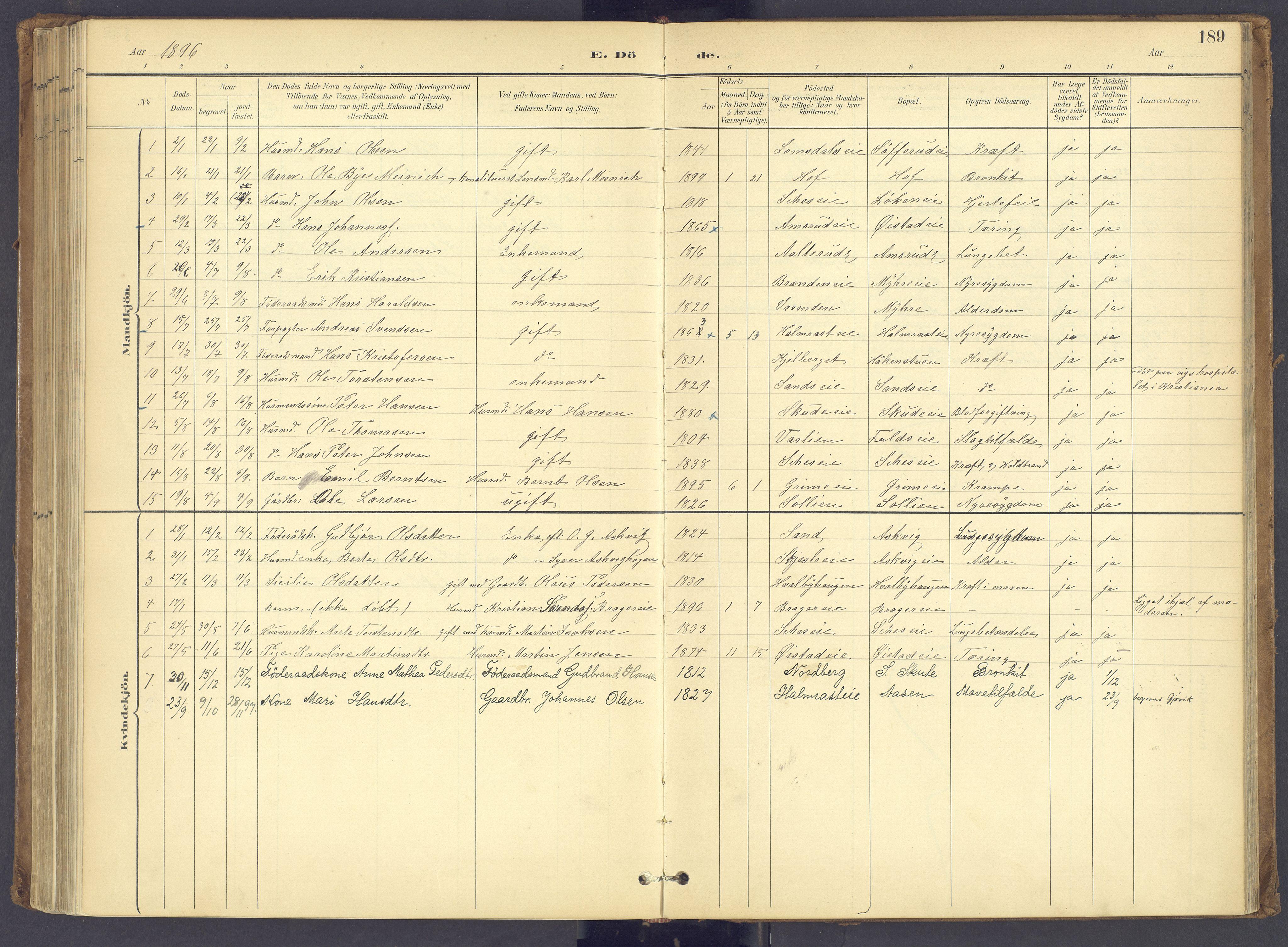 SAH, Søndre Land prestekontor, K/L0006: Ministerialbok nr. 6, 1895-1904, s. 189