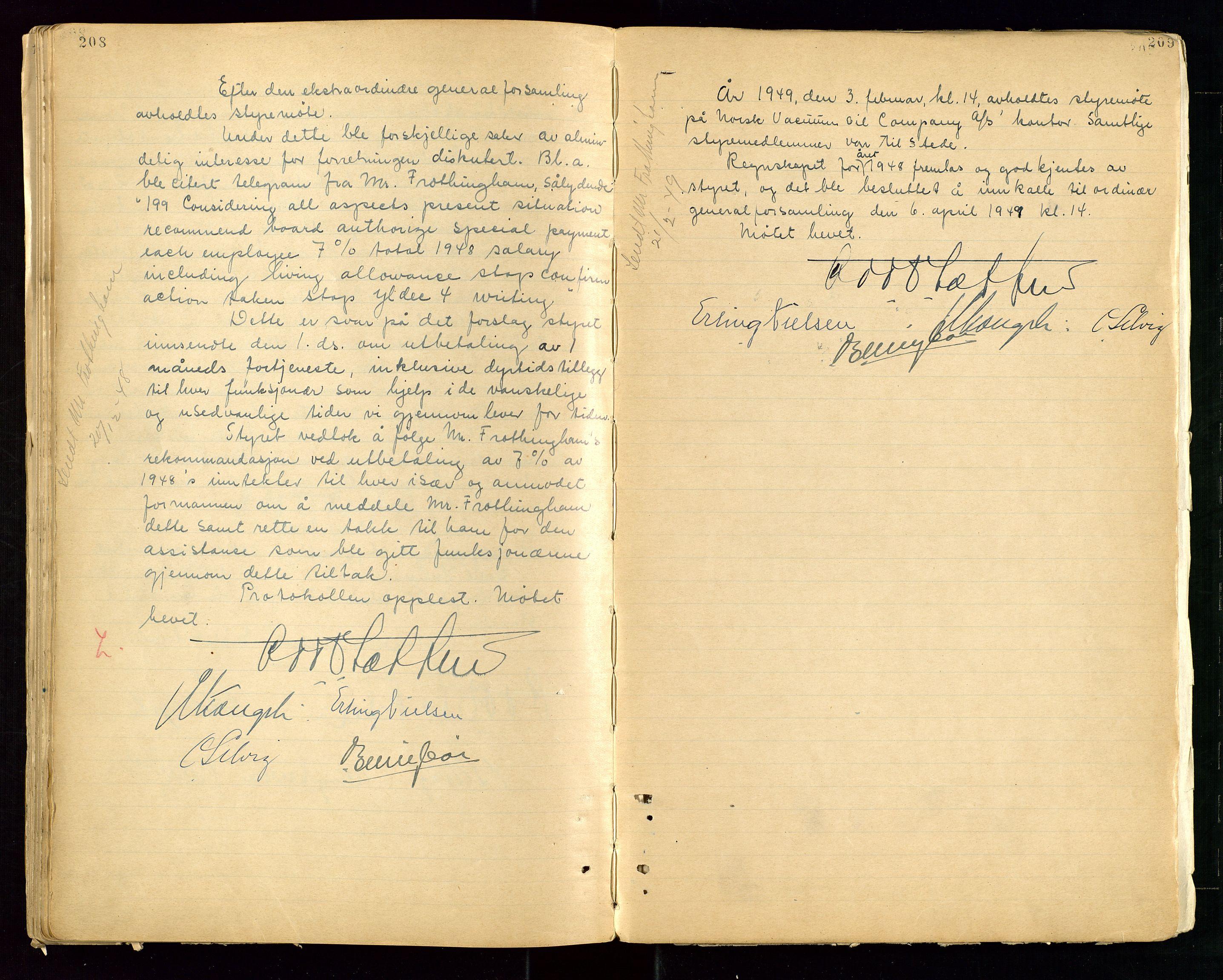 """SAST, PA 1513 - Norsk Vacuum Oil Company A/S, A/L0001: """"Generalforsamlings og styreprotokoll"""" fra 27/4-1918 til 6/4-1949, 1918-1949, s. 208-209"""