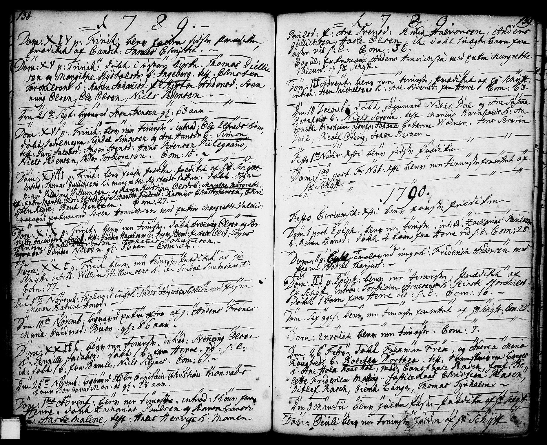 SAKO, Porsgrunn kirkebøker , F/Fa/L0001: Ministerialbok nr. 1, 1764-1814, s. 138-139