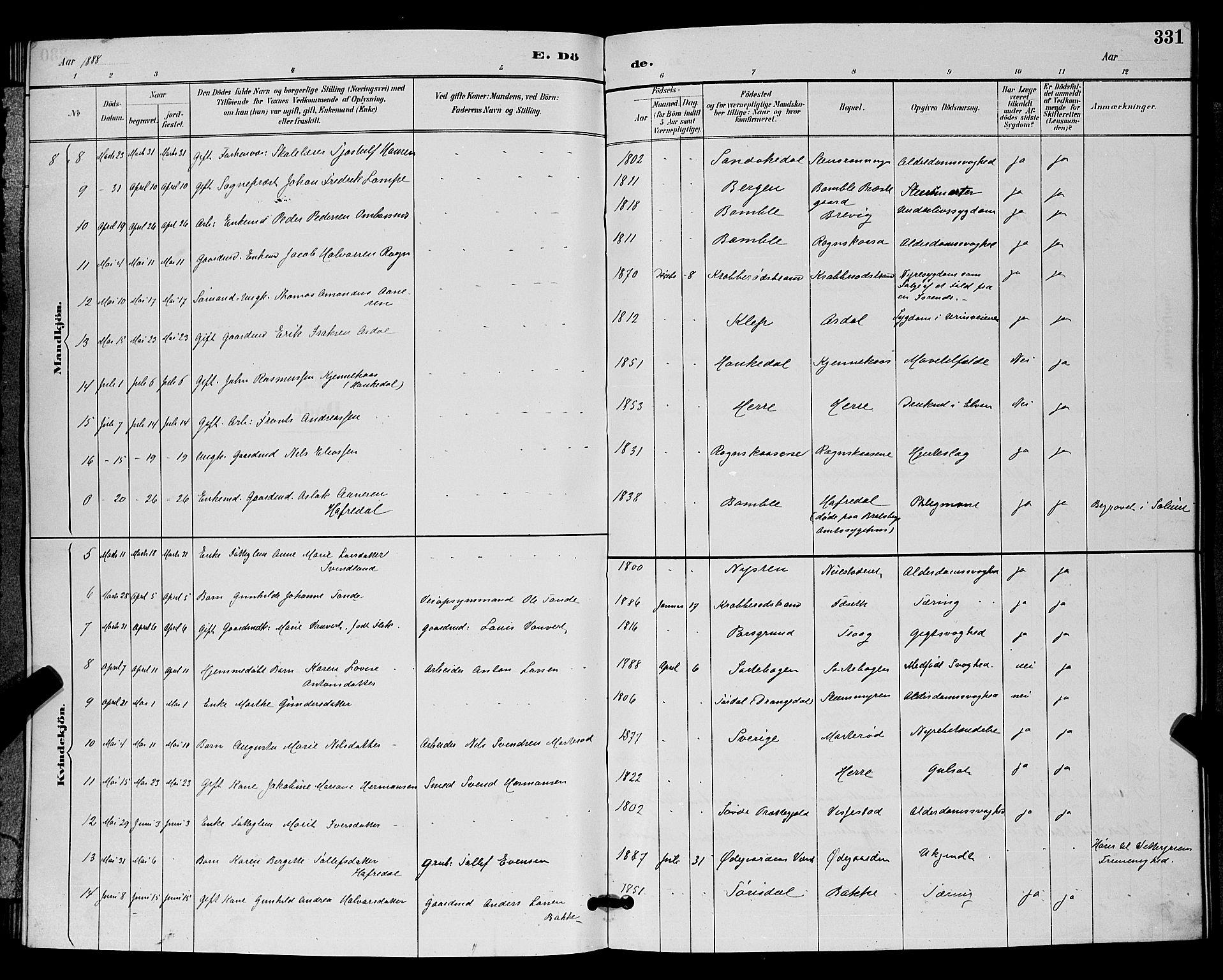 SAKO, Bamble kirkebøker, G/Ga/L0009: Klokkerbok nr. I 9, 1888-1900, s. 331