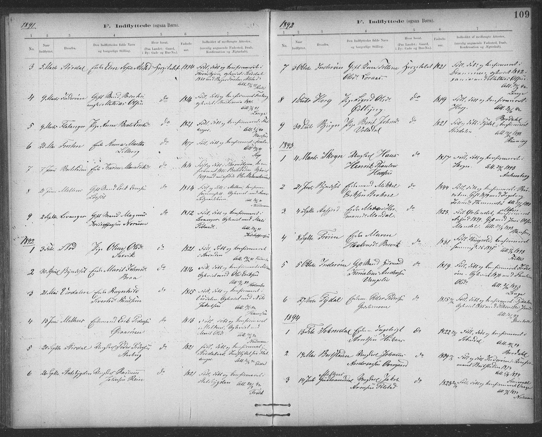 SAT, Ministerialprotokoller, klokkerbøker og fødselsregistre - Sør-Trøndelag, 623/L0470: Ministerialbok nr. 623A04, 1884-1938, s. 109
