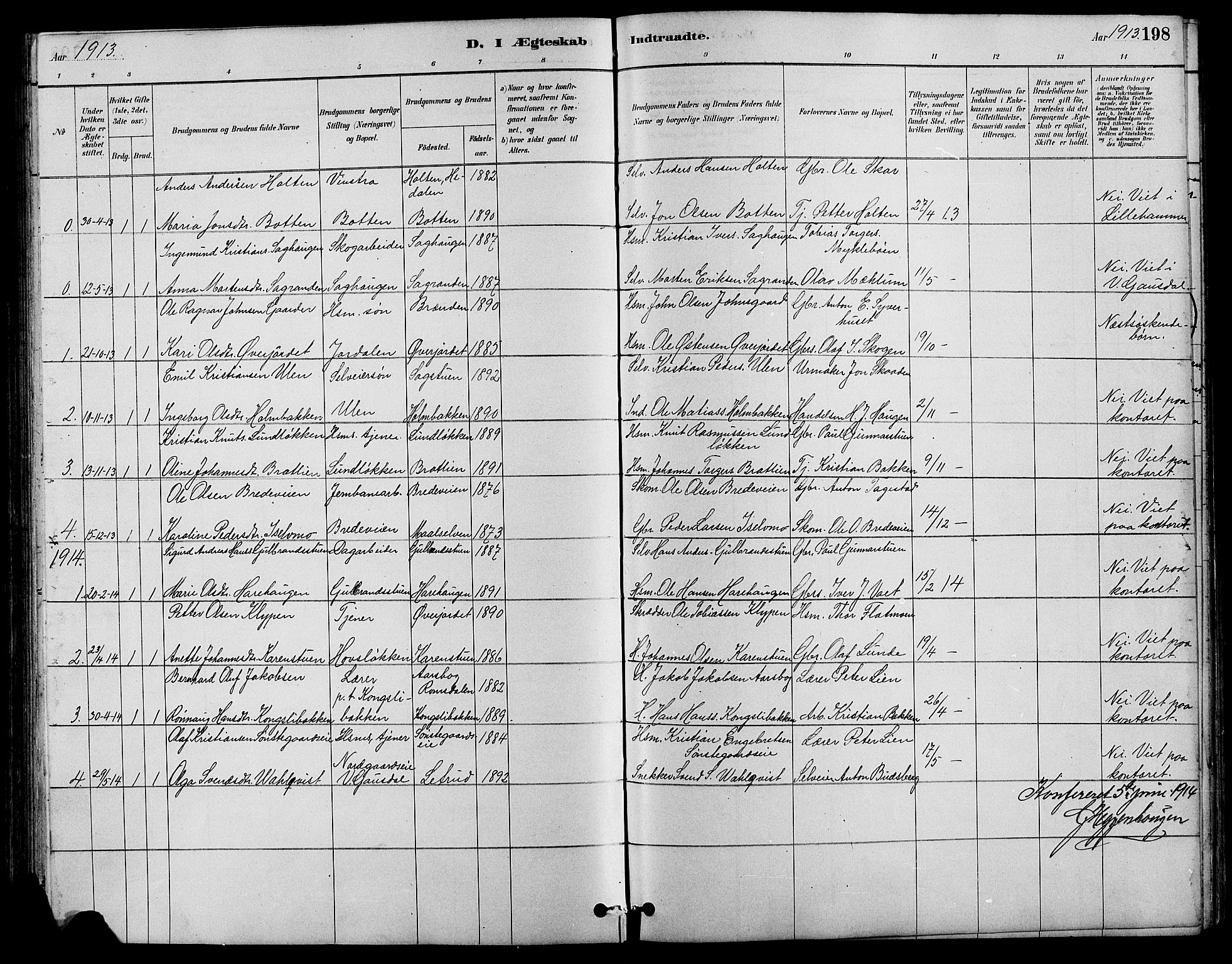 SAH, Nord-Fron prestekontor, Klokkerbok nr. 4, 1884-1914, s. 198