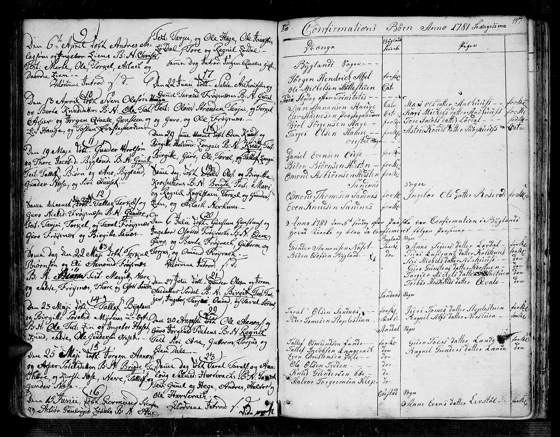 SAK, Bygland sokneprestkontor, F/Fa/Fab/L0002: Ministerialbok nr. A 2, 1766-1816, s. 141