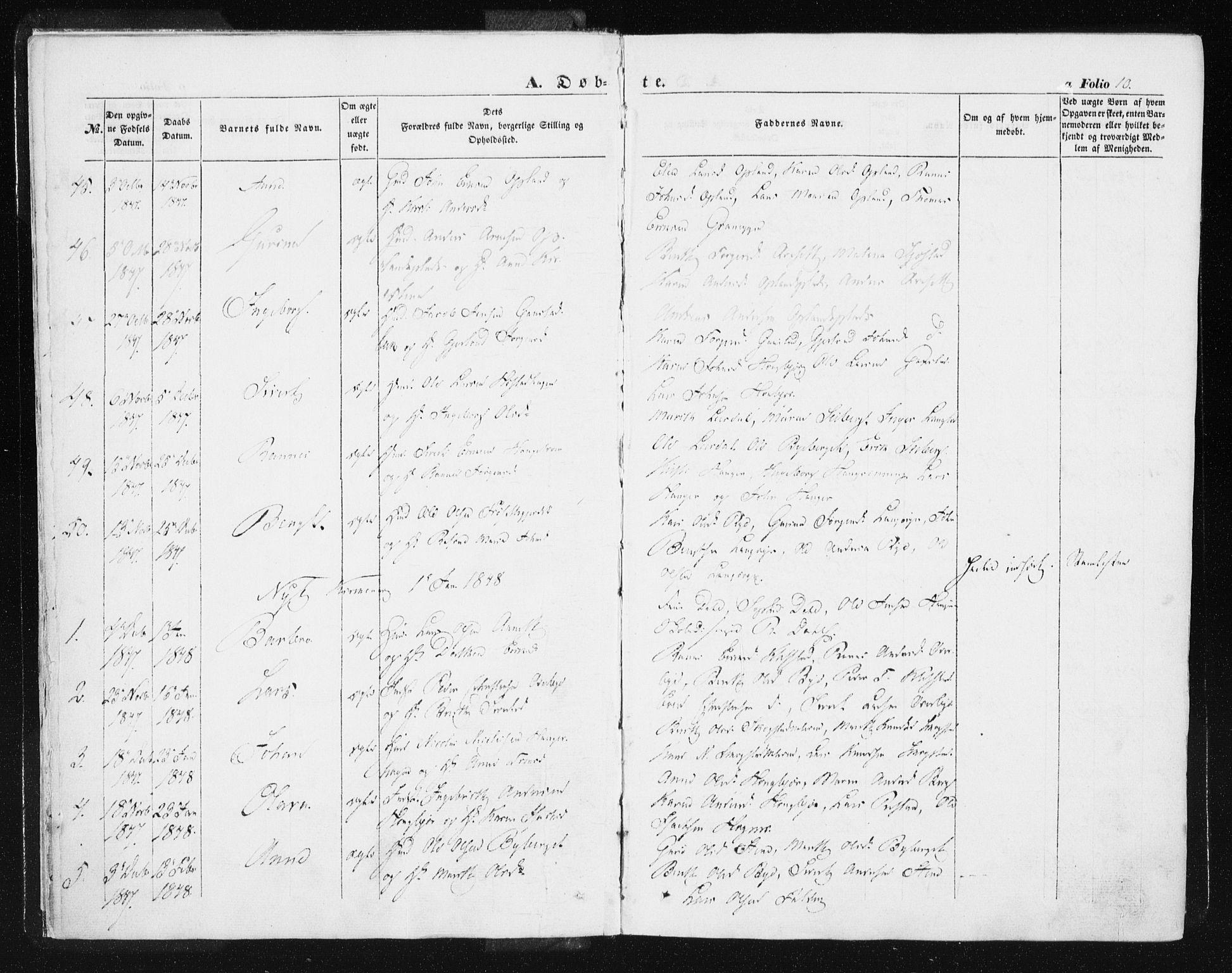 SAT, Ministerialprotokoller, klokkerbøker og fødselsregistre - Sør-Trøndelag, 612/L0376: Ministerialbok nr. 612A08, 1846-1859, s. 10