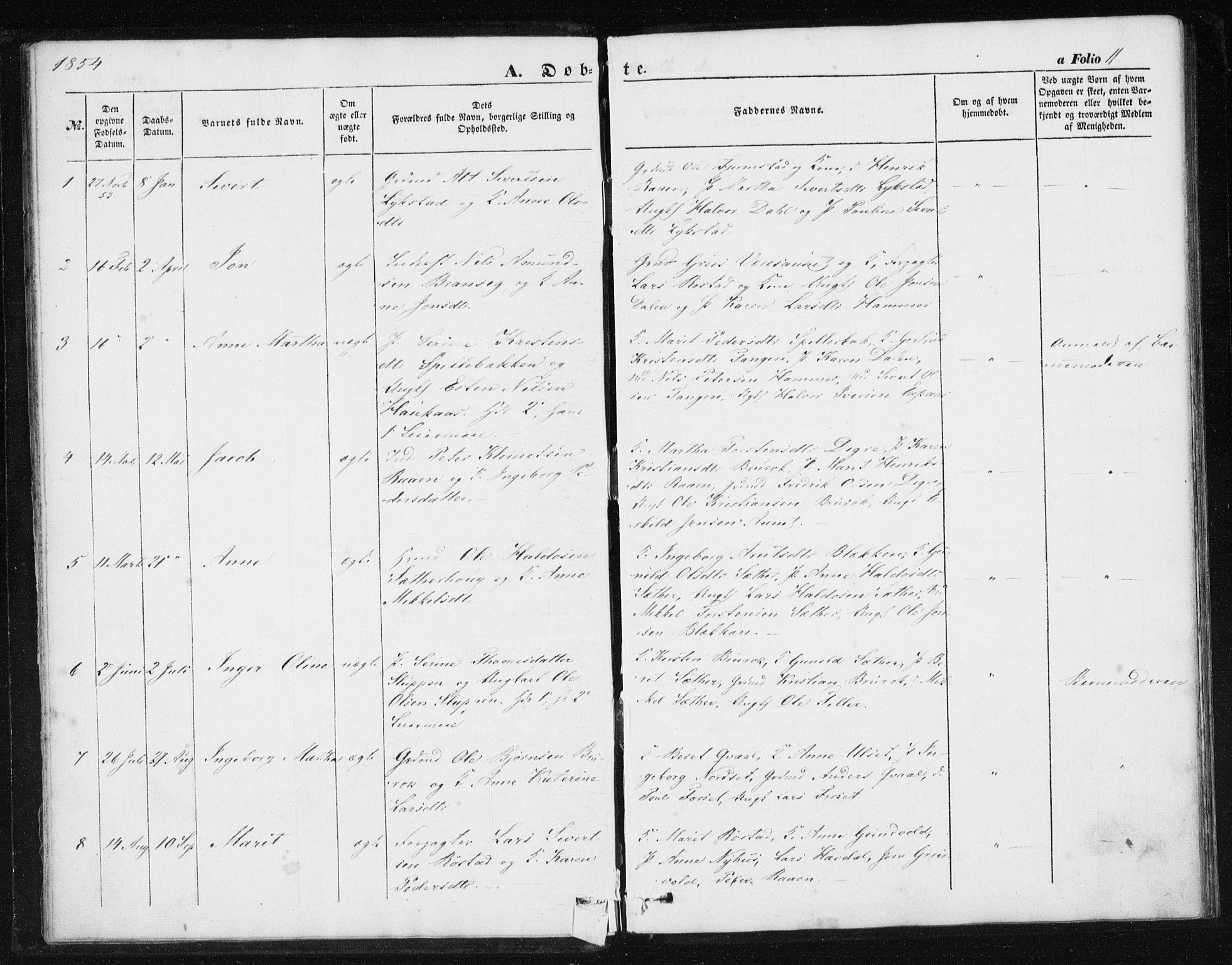 SAT, Ministerialprotokoller, klokkerbøker og fødselsregistre - Sør-Trøndelag, 608/L0332: Ministerialbok nr. 608A01, 1848-1861, s. 11