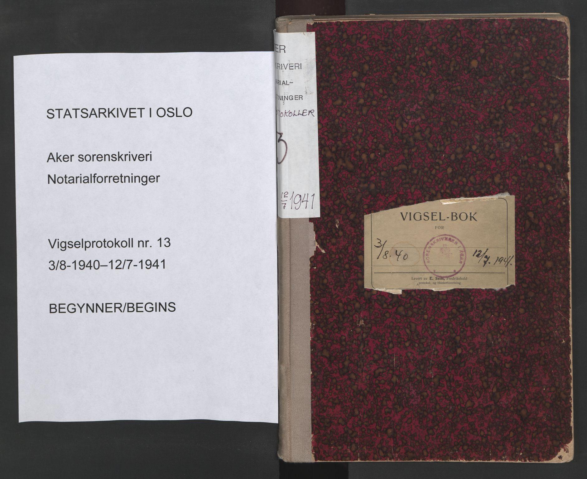 SAO, Aker sorenskriveri, L/Lc/Lcb/L0013: Vigselprotokoll, 1940-1941, s. upaginert