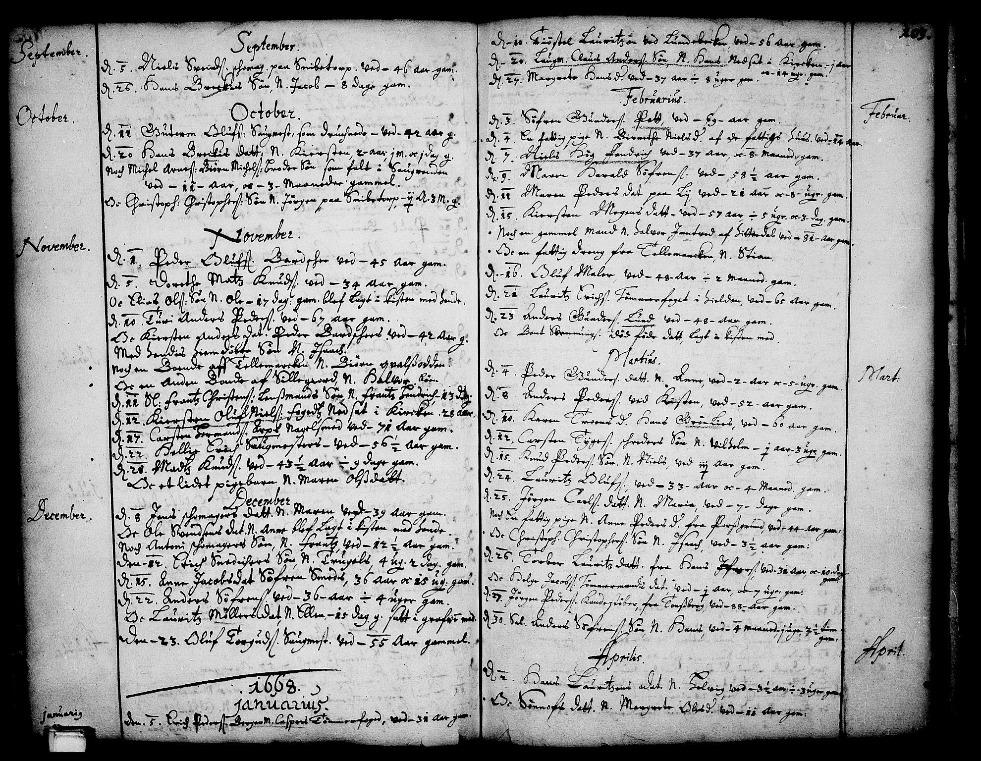 SAKO, Skien kirkebøker, F/Fa/L0001: Ministerialbok nr. 1, 1659-1679, s. 103