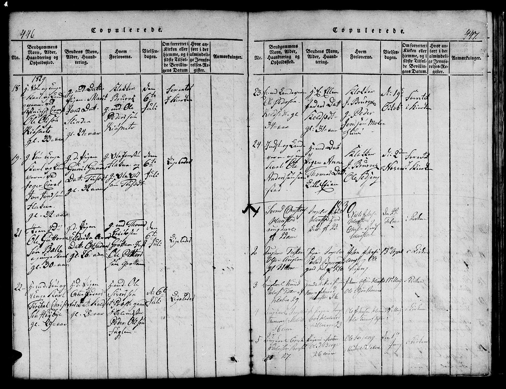 SAT, Ministerialprotokoller, klokkerbøker og fødselsregistre - Sør-Trøndelag, 695/L1152: Klokkerbok nr. 695C03, 1816-1831, s. 446-447