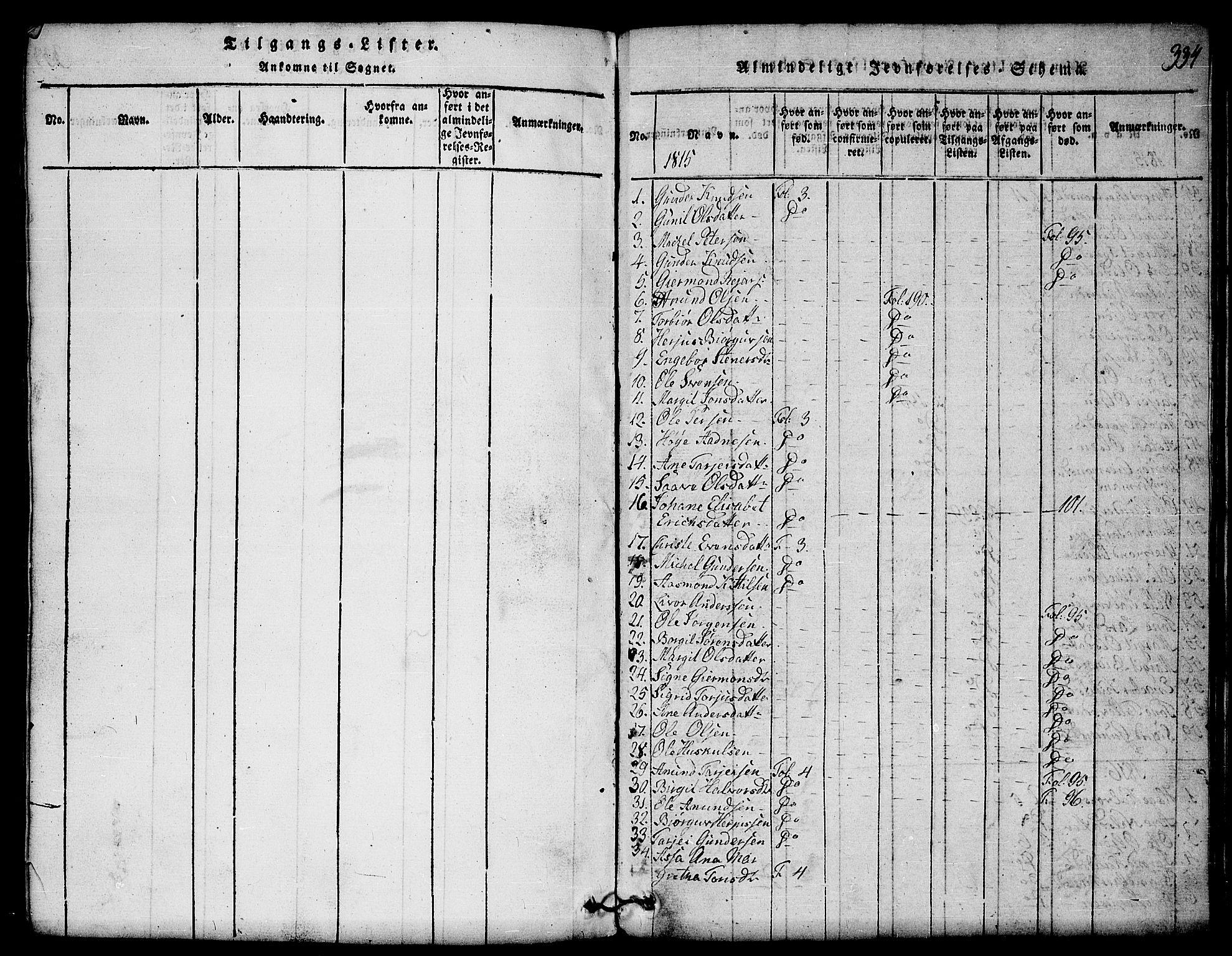 SAKO, Mo kirkebøker, G/Gb/L0001: Klokkerbok nr. II 1, 1814-1843, s. 334