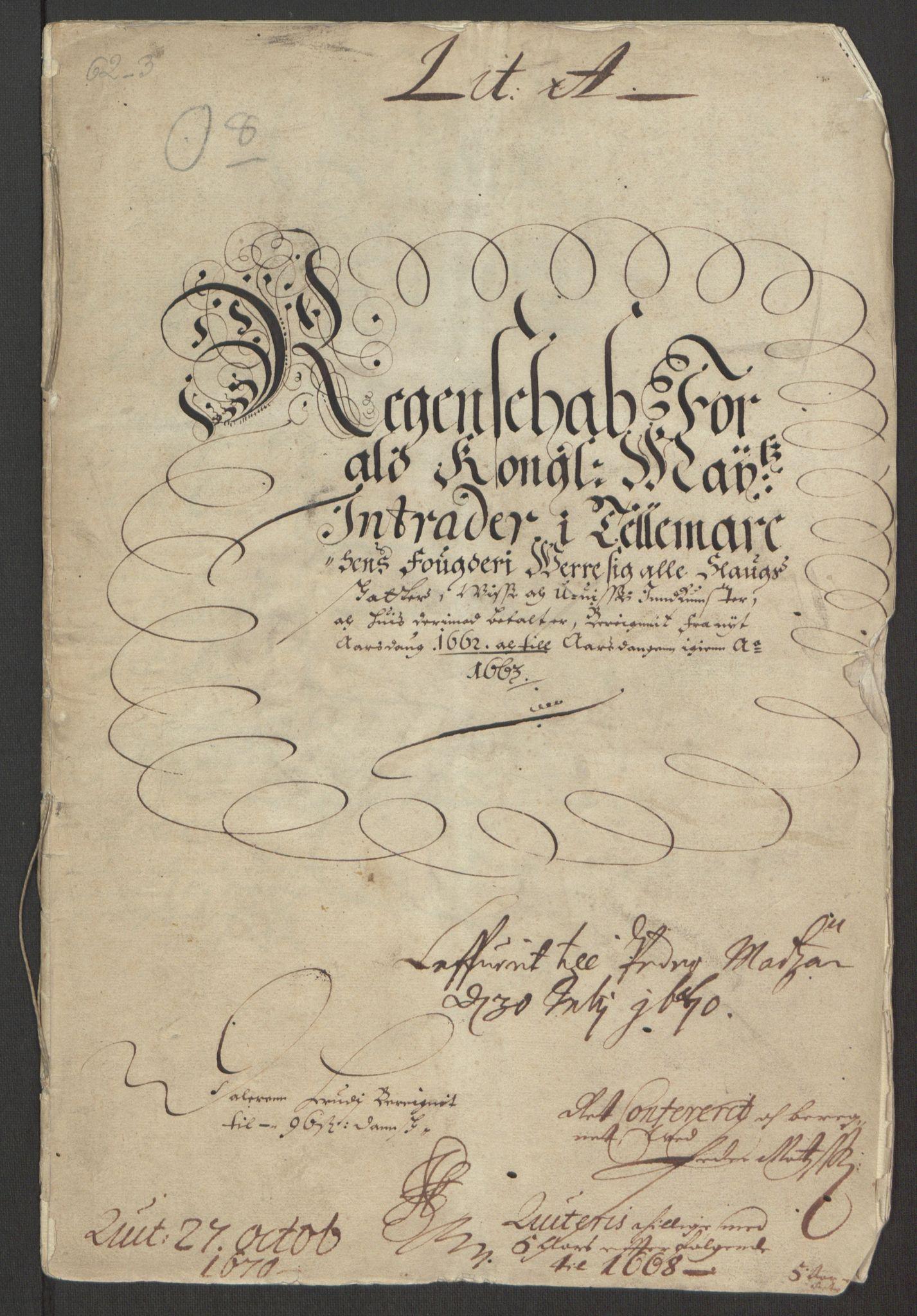 RA, Rentekammeret inntil 1814, Reviderte regnskaper, Fogderegnskap, R35/L2054: Fogderegnskap Øvre og Nedre Telemark, 1662-1663, s. 3