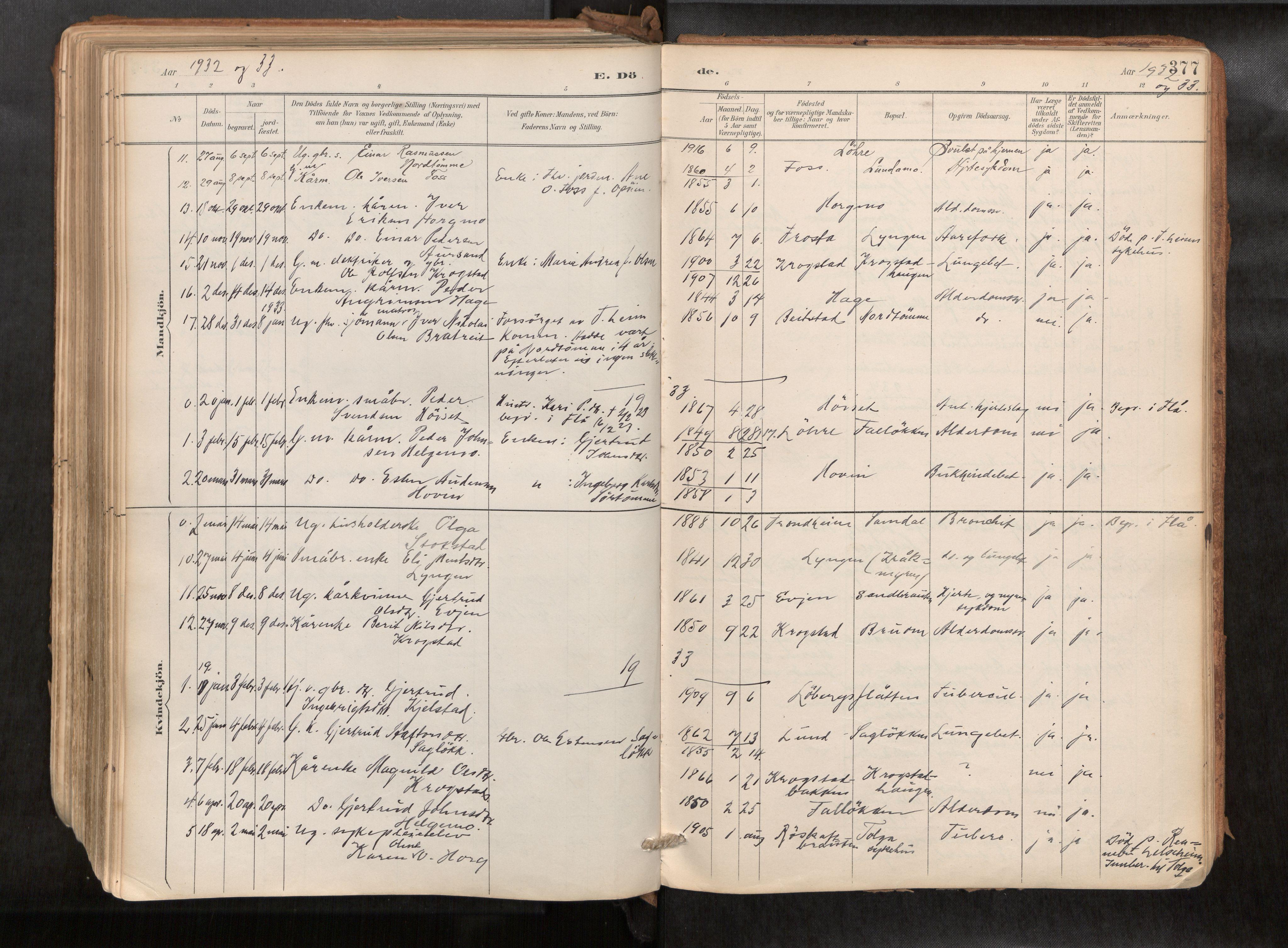 SAT, Ministerialprotokoller, klokkerbøker og fødselsregistre - Sør-Trøndelag, 692/L1105b: Ministerialbok nr. 692A06, 1891-1934, s. 377