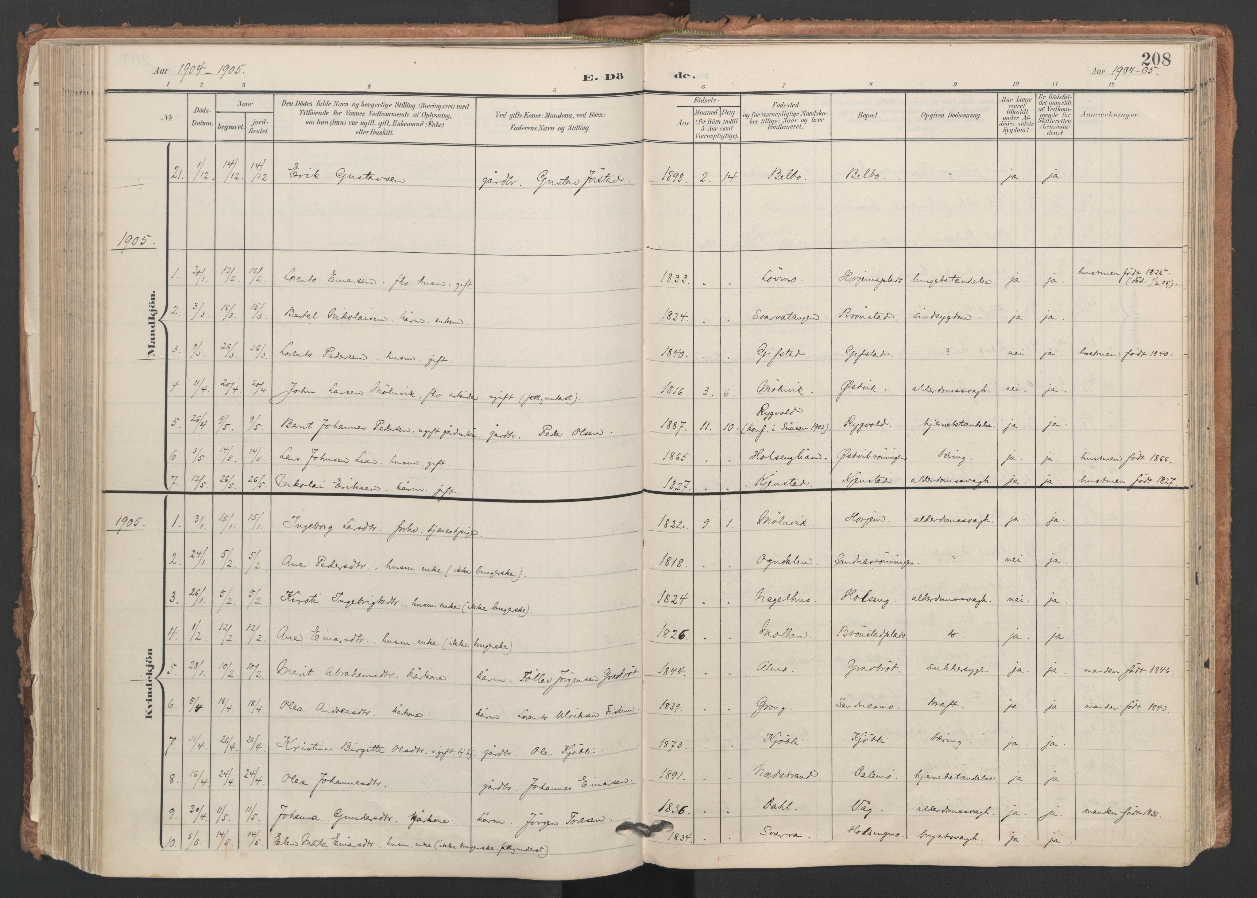 SAT, Ministerialprotokoller, klokkerbøker og fødselsregistre - Nord-Trøndelag, 749/L0477: Ministerialbok nr. 749A11, 1902-1927, s. 208
