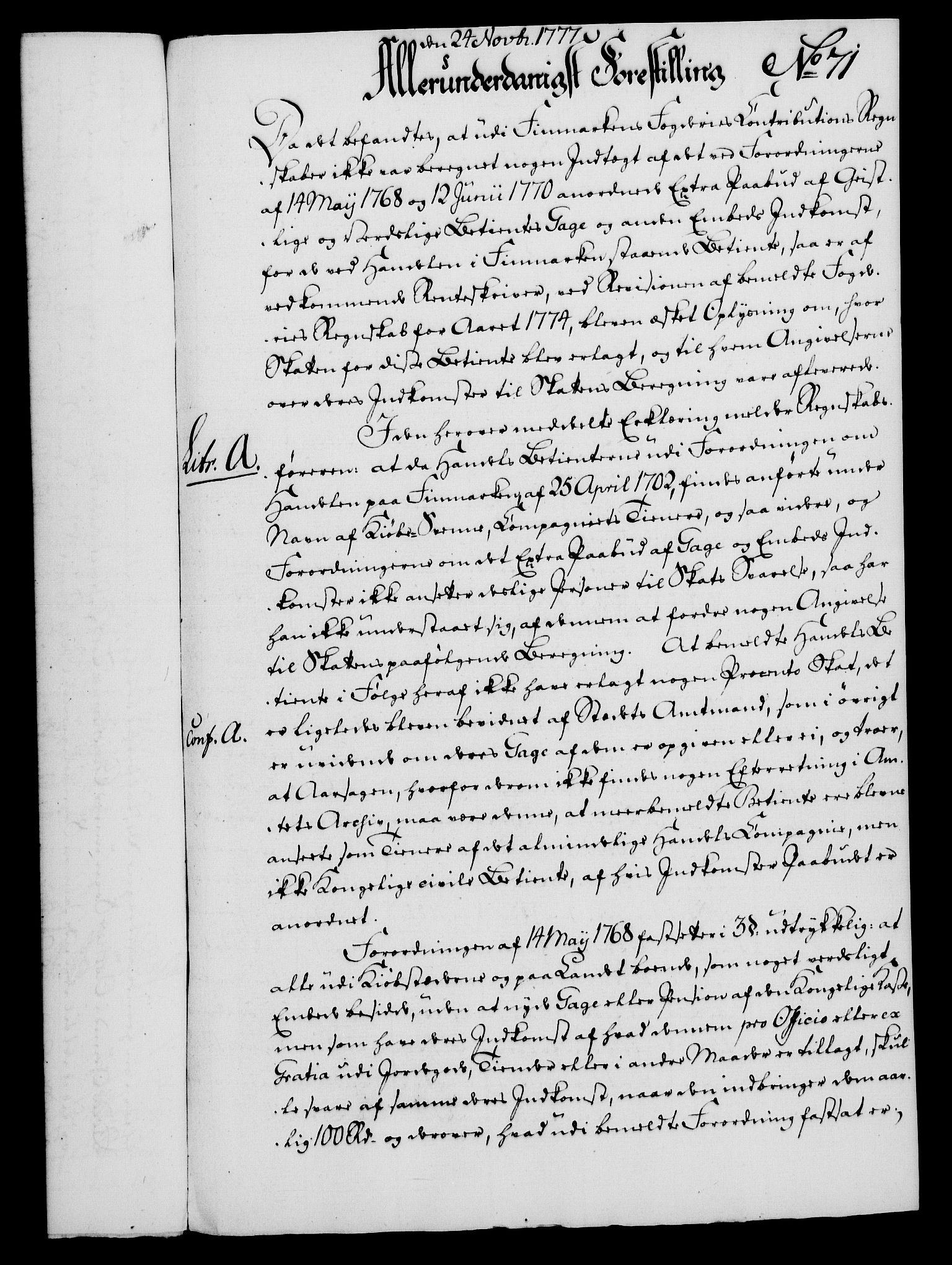 RA, Rentekammeret, Kammerkanselliet, G/Gf/Gfa/L0059: Norsk relasjons- og resolusjonsprotokoll (merket RK 52.59), 1777, s. 354