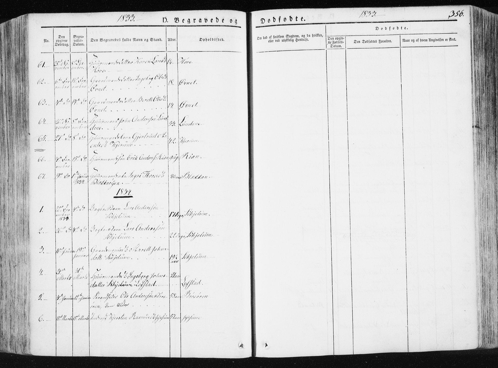 SAT, Ministerialprotokoller, klokkerbøker og fødselsregistre - Sør-Trøndelag, 665/L0771: Ministerialbok nr. 665A06, 1830-1856, s. 356