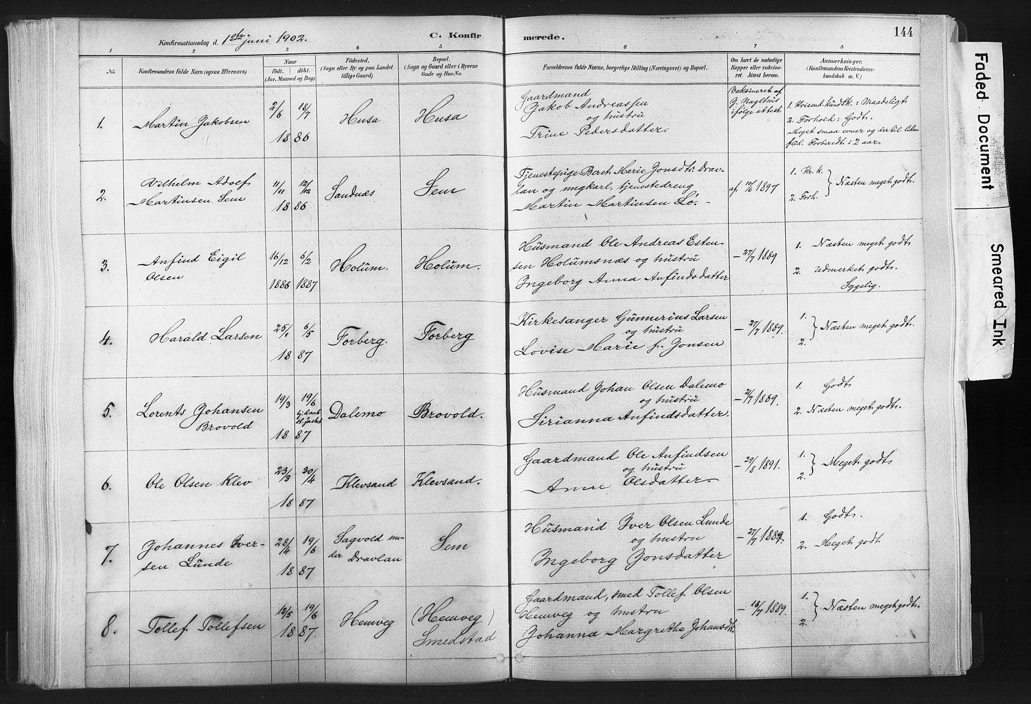 SAT, Ministerialprotokoller, klokkerbøker og fødselsregistre - Nord-Trøndelag, 749/L0474: Ministerialbok nr. 749A08, 1887-1903, s. 144