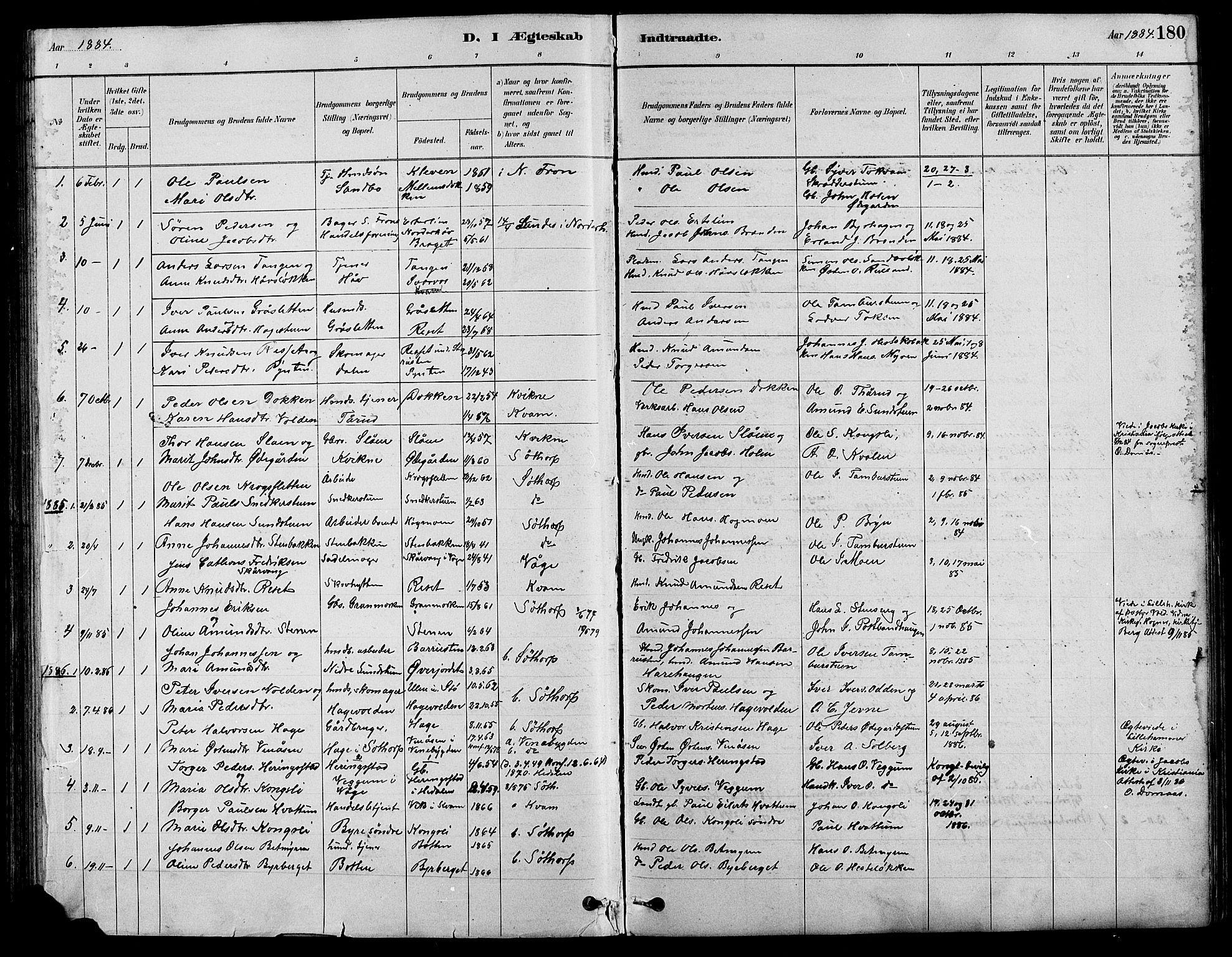 SAH, Nord-Fron prestekontor, Klokkerbok nr. 4, 1884-1914, s. 180
