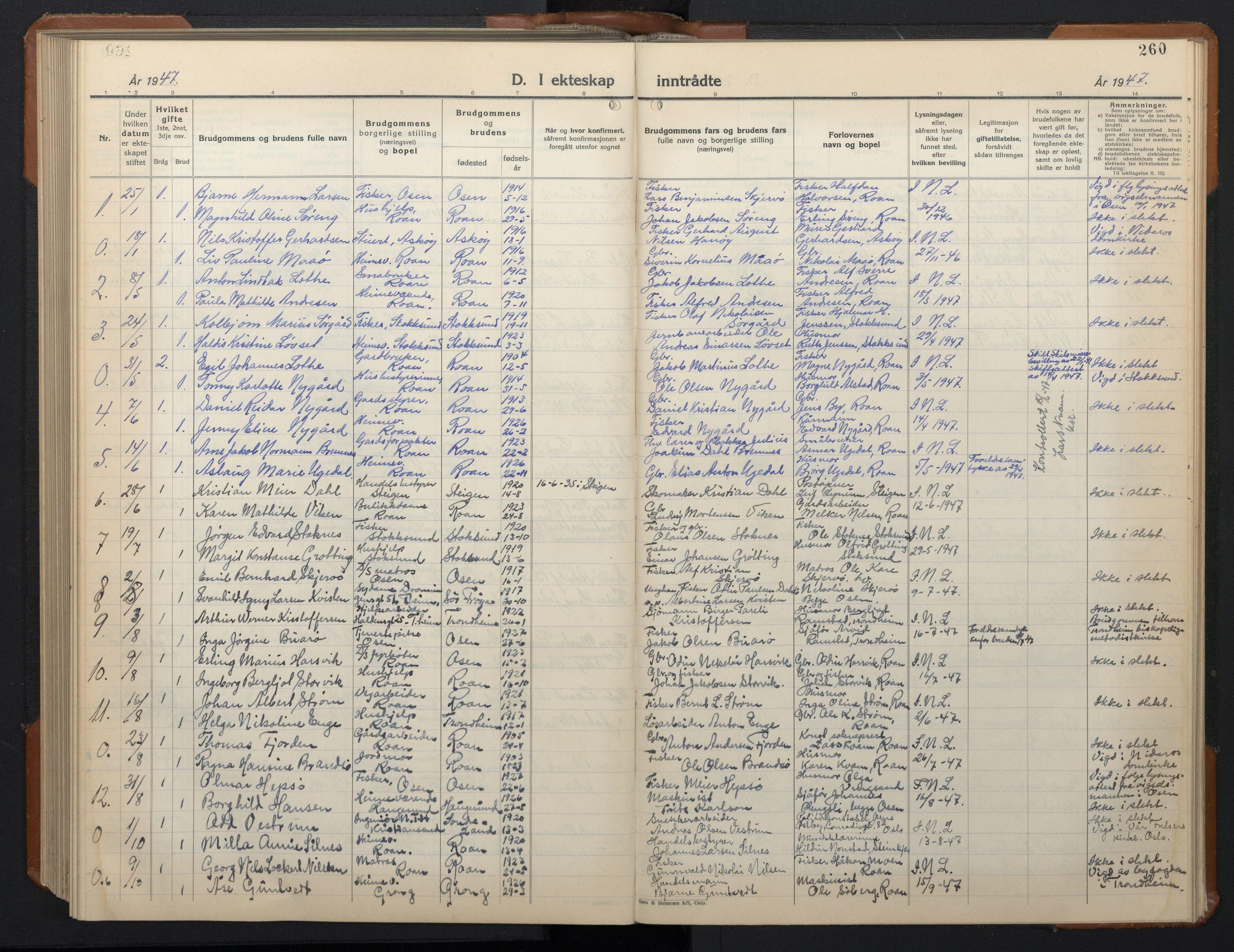SAT, Ministerialprotokoller, klokkerbøker og fødselsregistre - Sør-Trøndelag, 657/L0718: Klokkerbok nr. 657C05, 1923-1948, s. 260