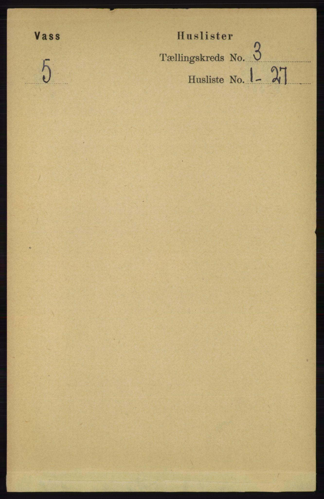 RA, Folketelling 1891 for 1155 Vats herred, 1891, s. 419