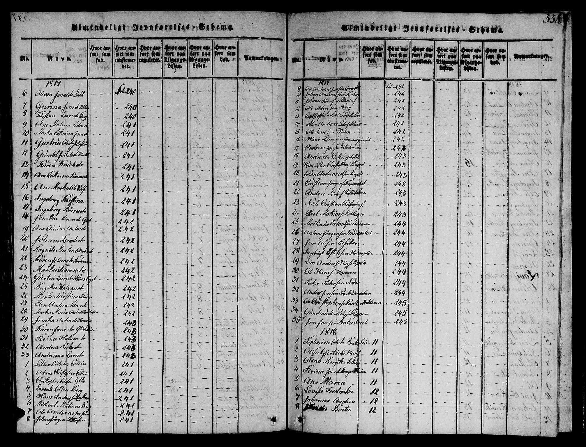 SAT, Ministerialprotokoller, klokkerbøker og fødselsregistre - Sør-Trøndelag, 606/L0307: Klokkerbok nr. 606C03, 1817-1824, s. 338