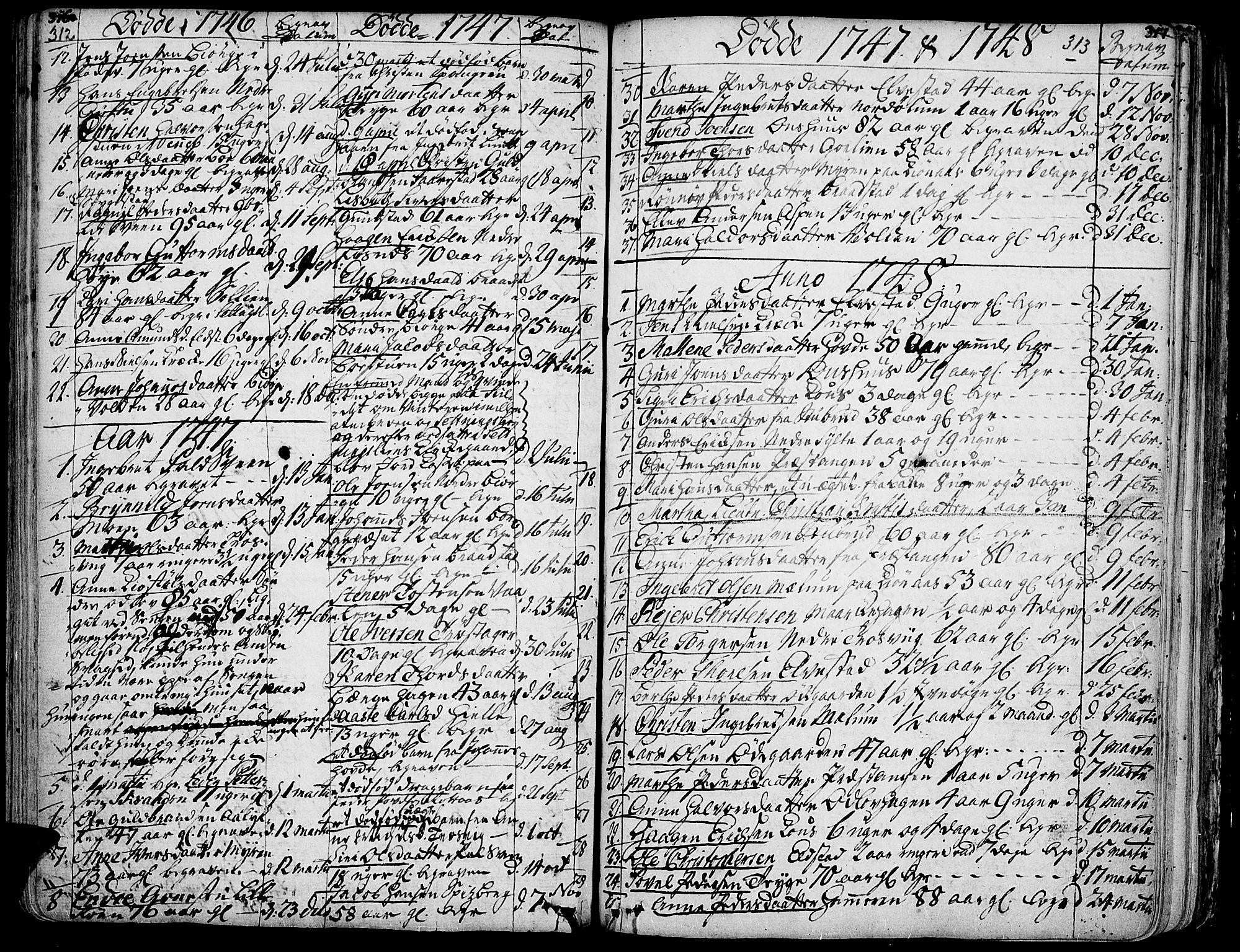 SAH, Ringebu prestekontor, Ministerialbok nr. 2, 1734-1780, s. 312-313