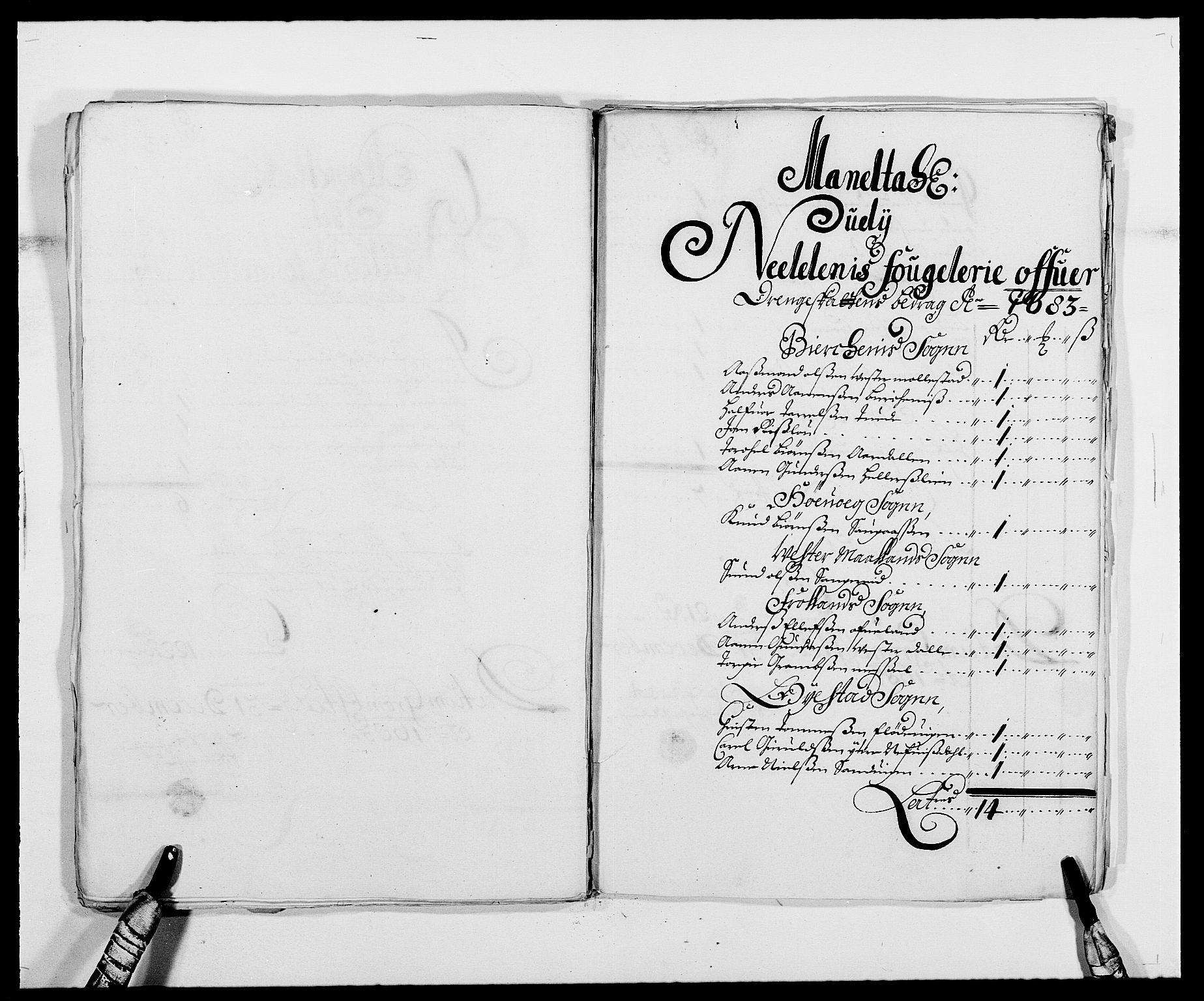 RA, Rentekammeret inntil 1814, Reviderte regnskaper, Fogderegnskap, R39/L2305: Fogderegnskap Nedenes, 1683, s. 129