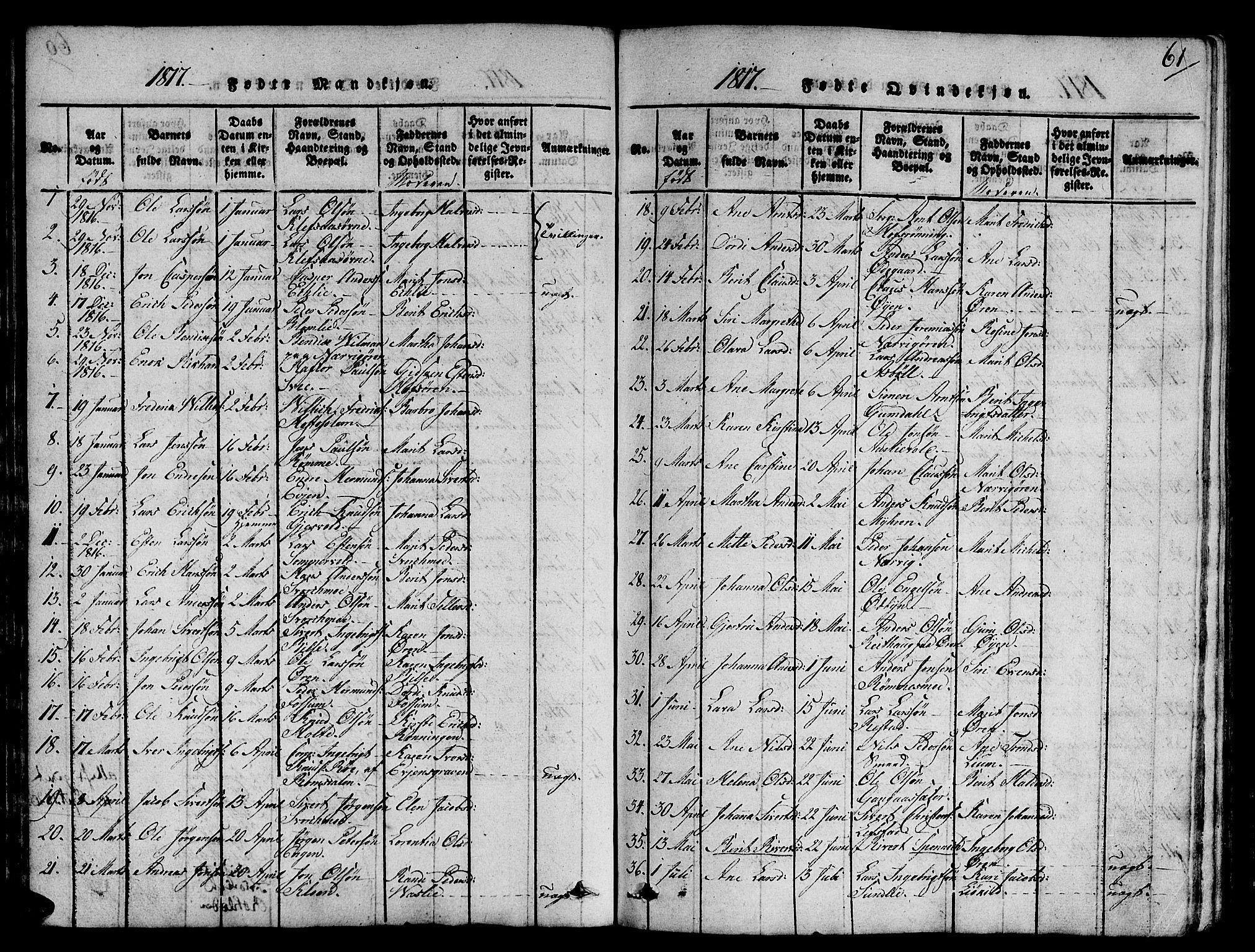SAT, Ministerialprotokoller, klokkerbøker og fødselsregistre - Sør-Trøndelag, 668/L0803: Ministerialbok nr. 668A03, 1800-1826, s. 61