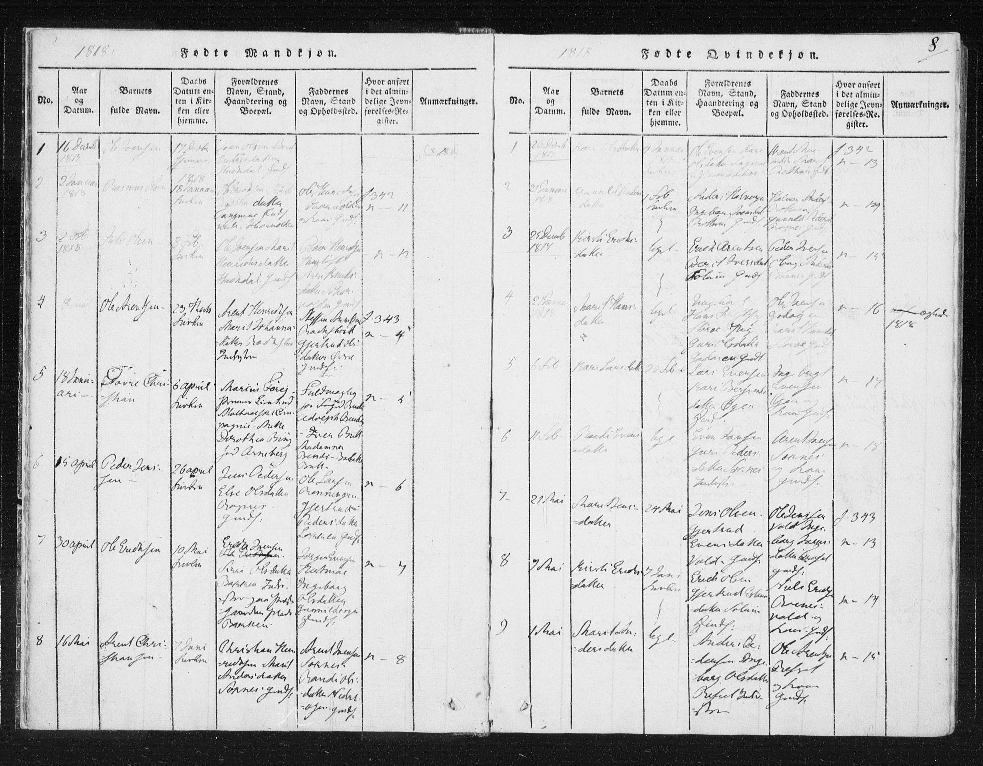 SAT, Ministerialprotokoller, klokkerbøker og fødselsregistre - Sør-Trøndelag, 687/L0996: Ministerialbok nr. 687A04, 1816-1842, s. 8