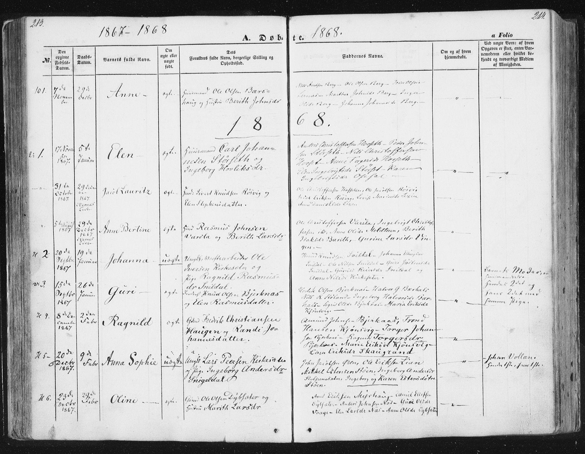 SAT, Ministerialprotokoller, klokkerbøker og fødselsregistre - Sør-Trøndelag, 630/L0494: Ministerialbok nr. 630A07, 1852-1868, s. 213-214