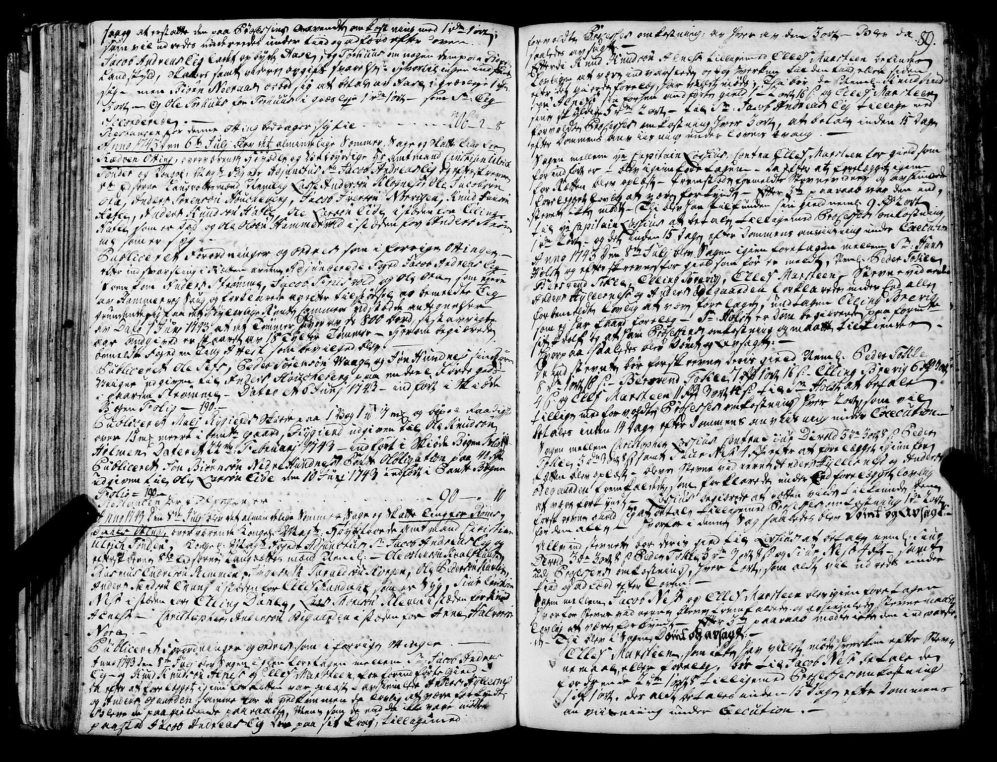 SAT, Romsdal sorenskriveri, 1/1A/L0012: Tingbok, 1740-1749, s. 88b-89a