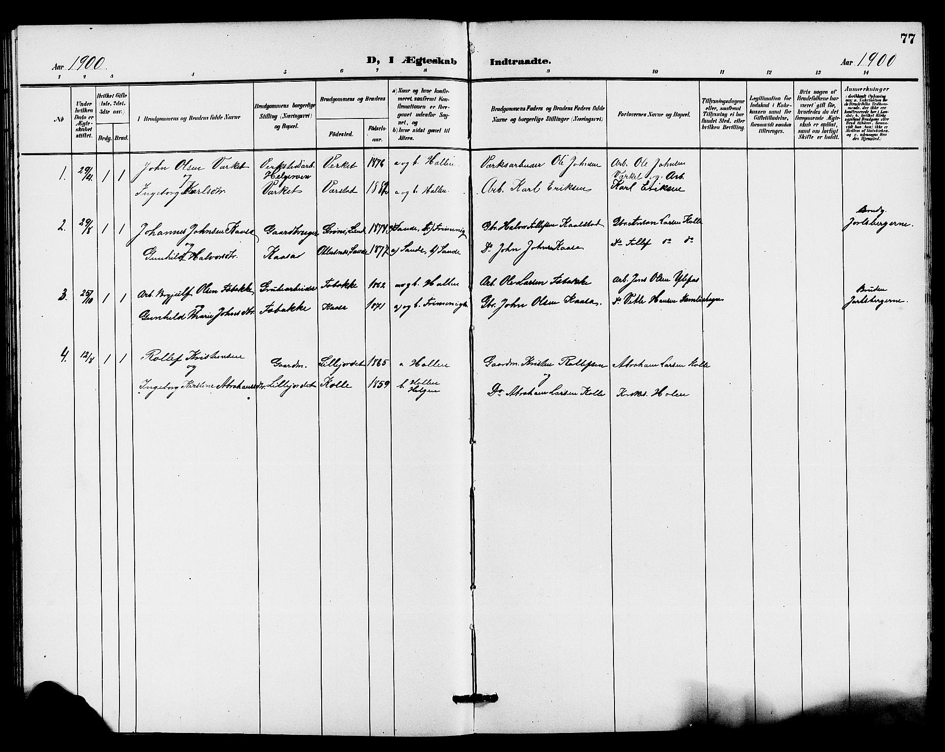 SAKO, Holla kirkebøker, G/Gb/L0002: Klokkerbok nr. II 2, 1897-1913, s. 77