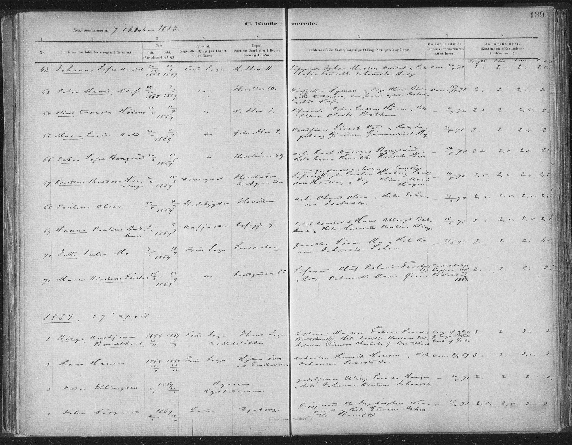 SAT, Ministerialprotokoller, klokkerbøker og fødselsregistre - Sør-Trøndelag, 603/L0162: Ministerialbok nr. 603A01, 1879-1895, s. 139