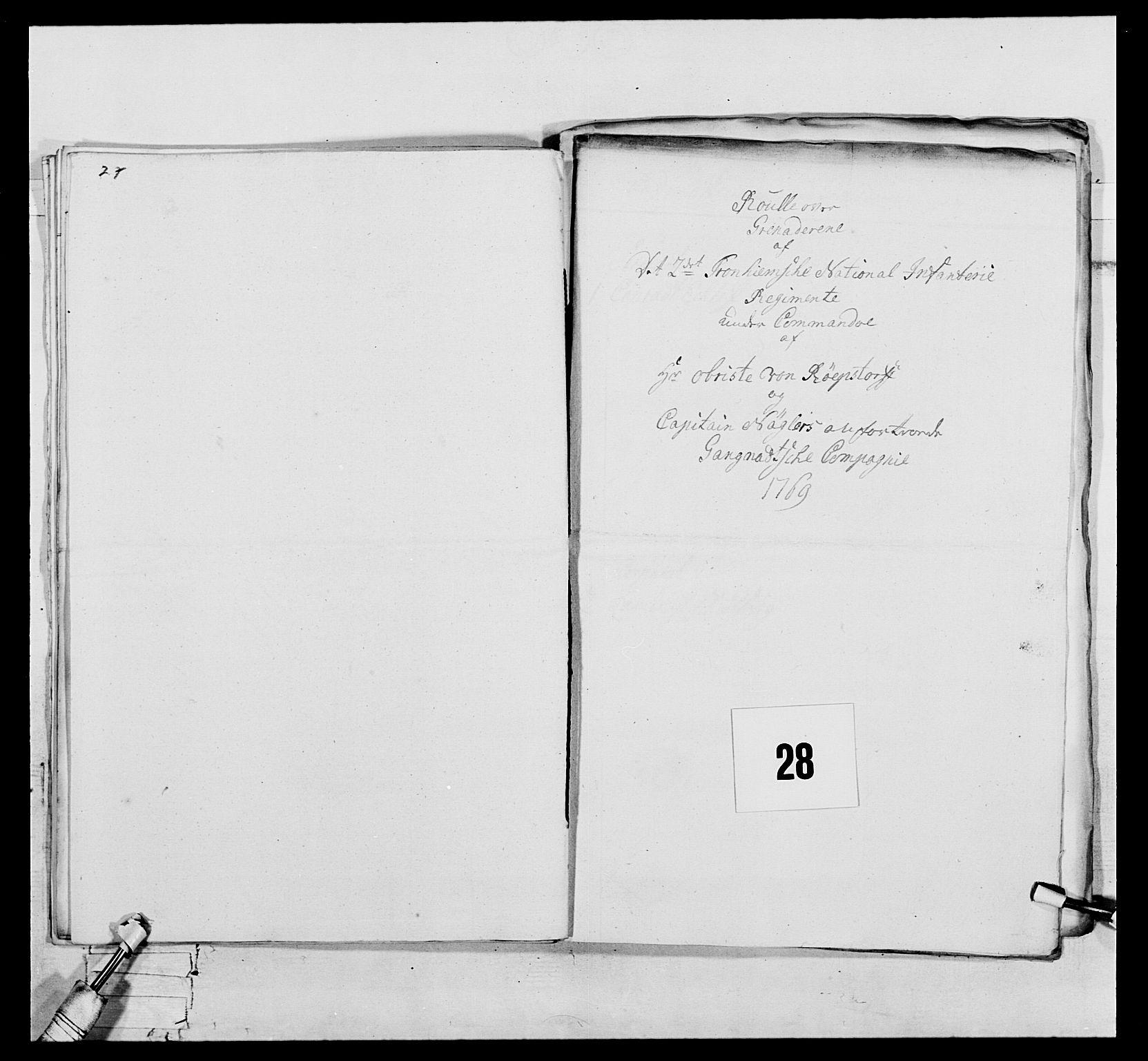 RA, Generalitets- og kommissariatskollegiet, Det kongelige norske kommissariatskollegium, E/Eh/L0076: 2. Trondheimske nasjonale infanteriregiment, 1766-1773, s. 76