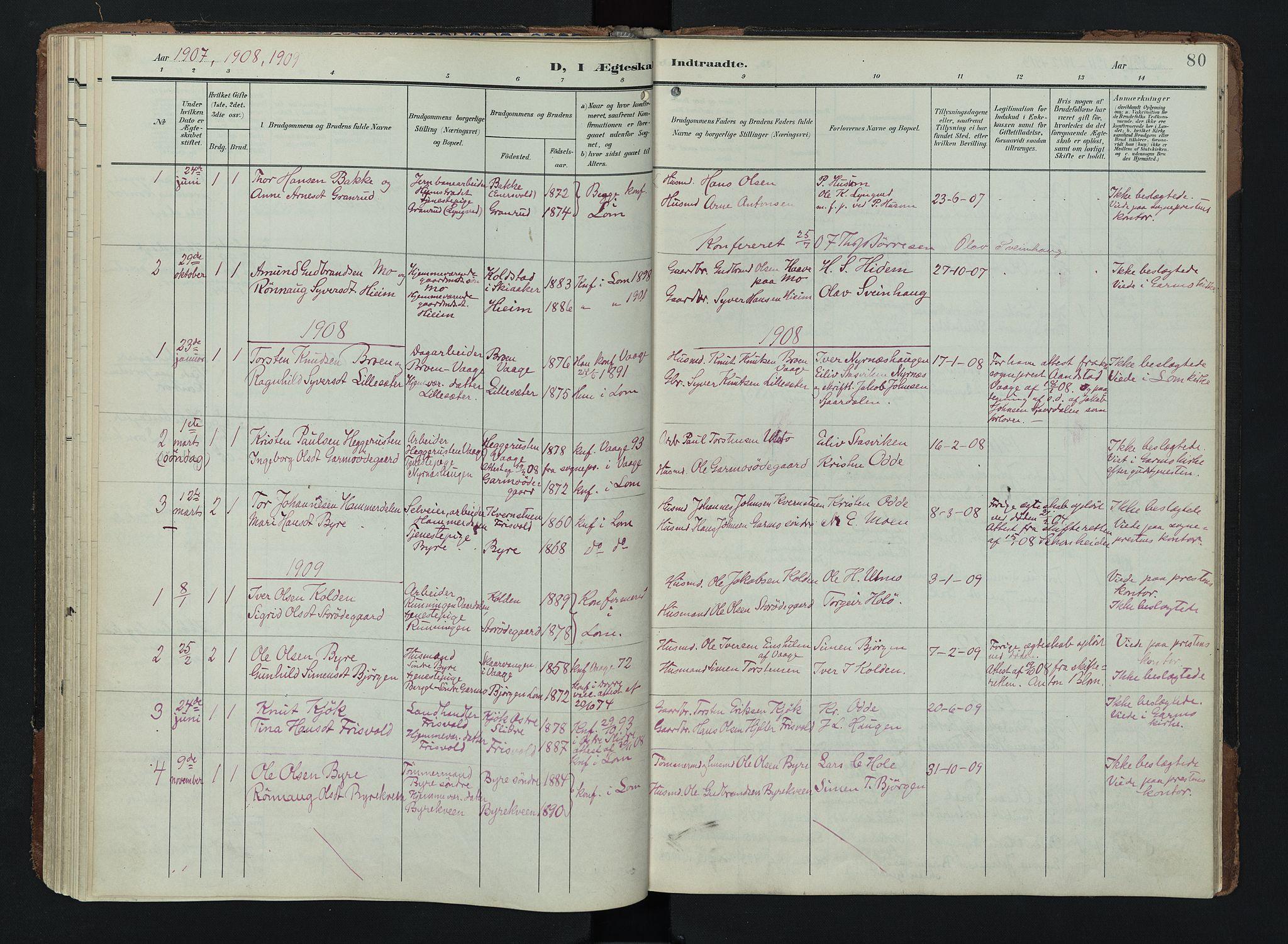 SAH, Lom prestekontor, K/L0011: Ministerialbok nr. 11, 1904-1928, s. 80