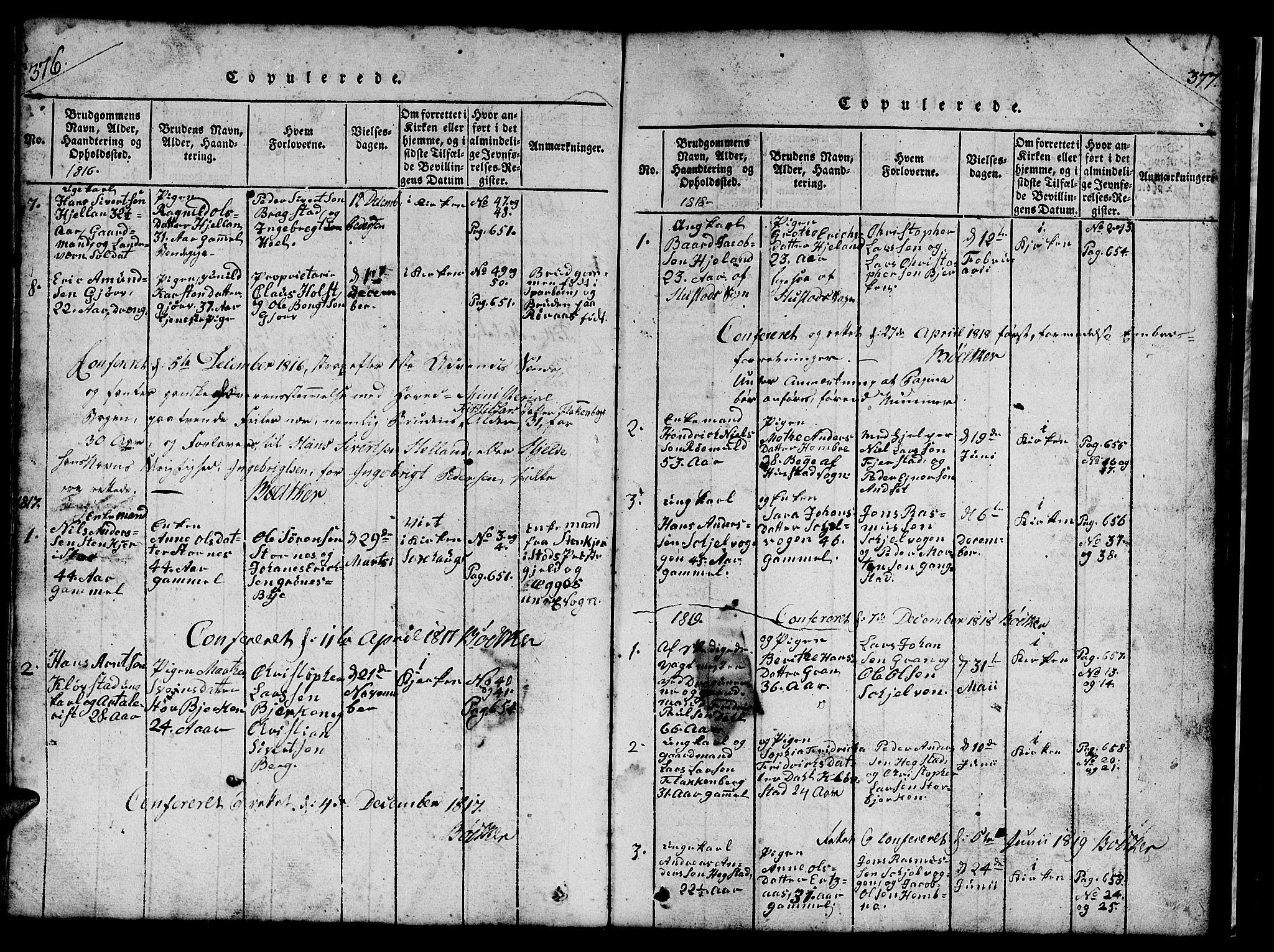 SAT, Ministerialprotokoller, klokkerbøker og fødselsregistre - Nord-Trøndelag, 732/L0317: Klokkerbok nr. 732C01, 1816-1881, s. 376-377