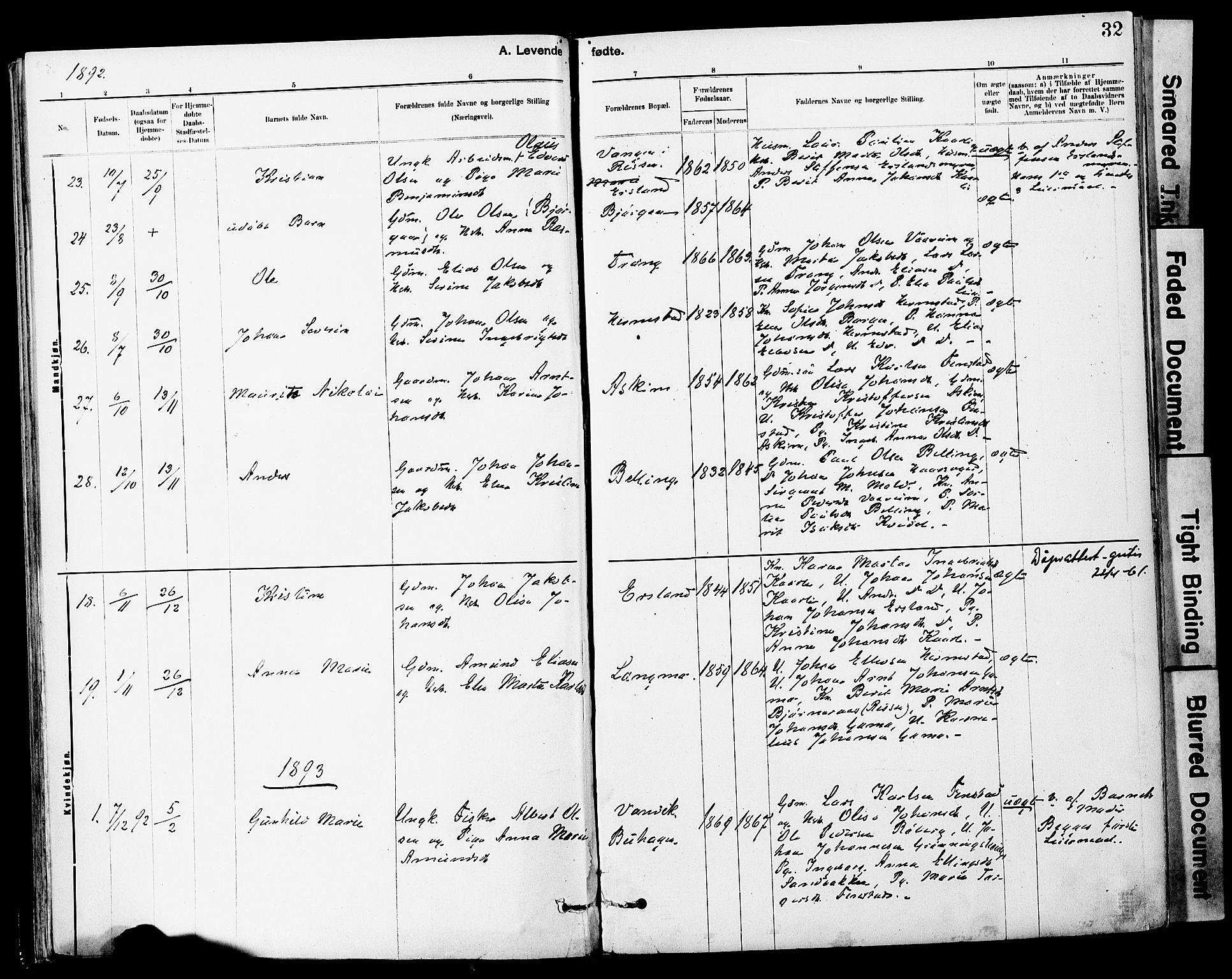 SAT, Ministerialprotokoller, klokkerbøker og fødselsregistre - Sør-Trøndelag, 646/L0615: Ministerialbok nr. 646A13, 1885-1900, s. 32
