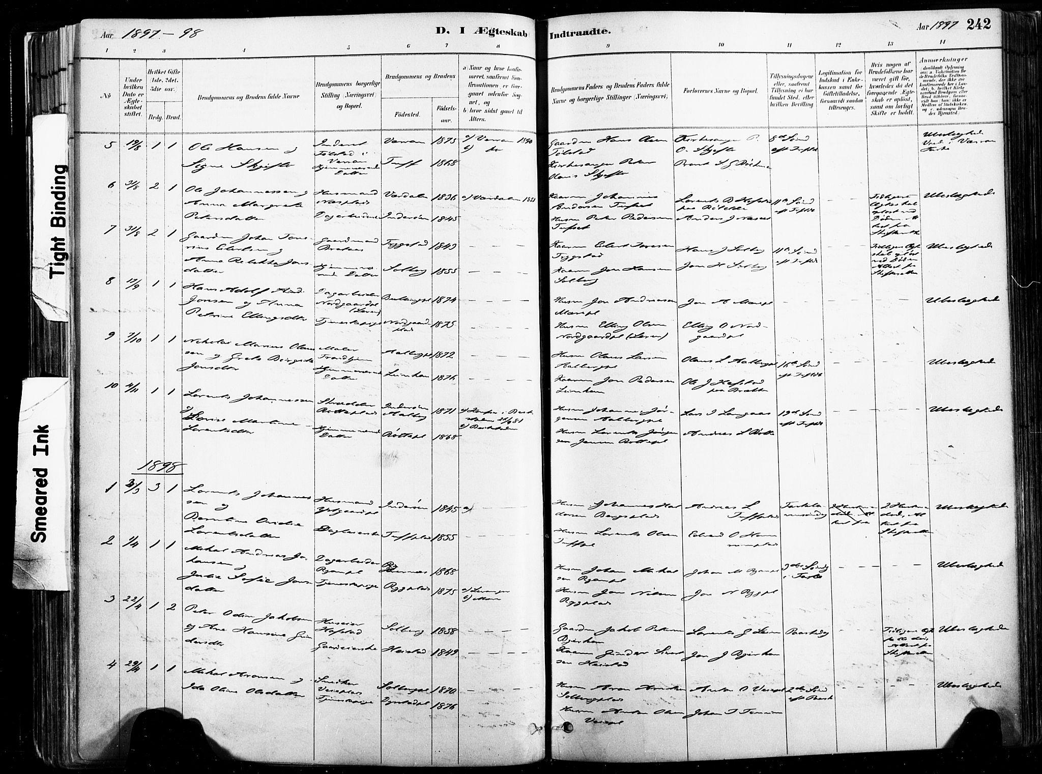 SAT, Ministerialprotokoller, klokkerbøker og fødselsregistre - Nord-Trøndelag, 735/L0351: Ministerialbok nr. 735A10, 1884-1908, s. 242
