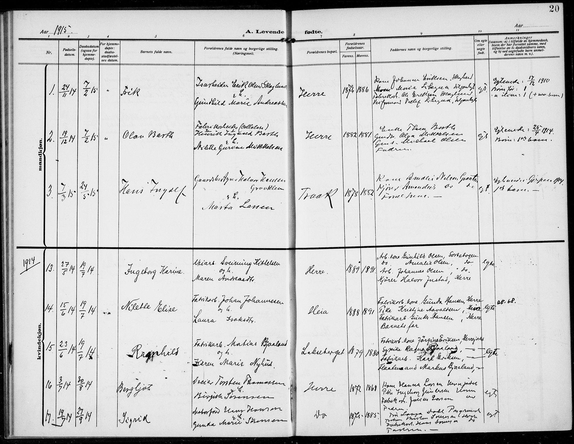 SAKO, Bamble kirkebøker, F/Fc/L0001: Ministerialbok nr. III 1, 1909-1916, s. 20