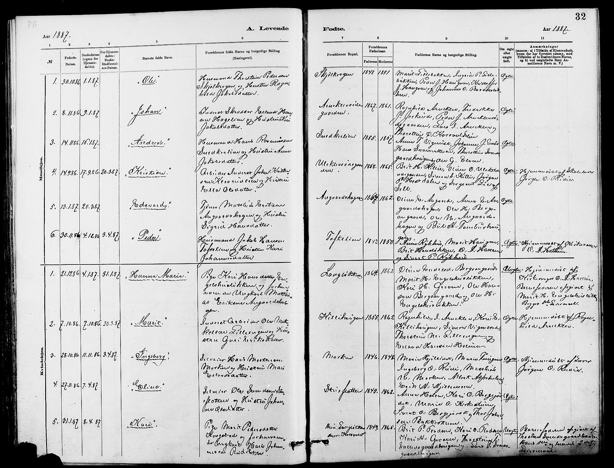 SAH, Dovre prestekontor, Klokkerbok nr. 2, 1881-1907, s. 32