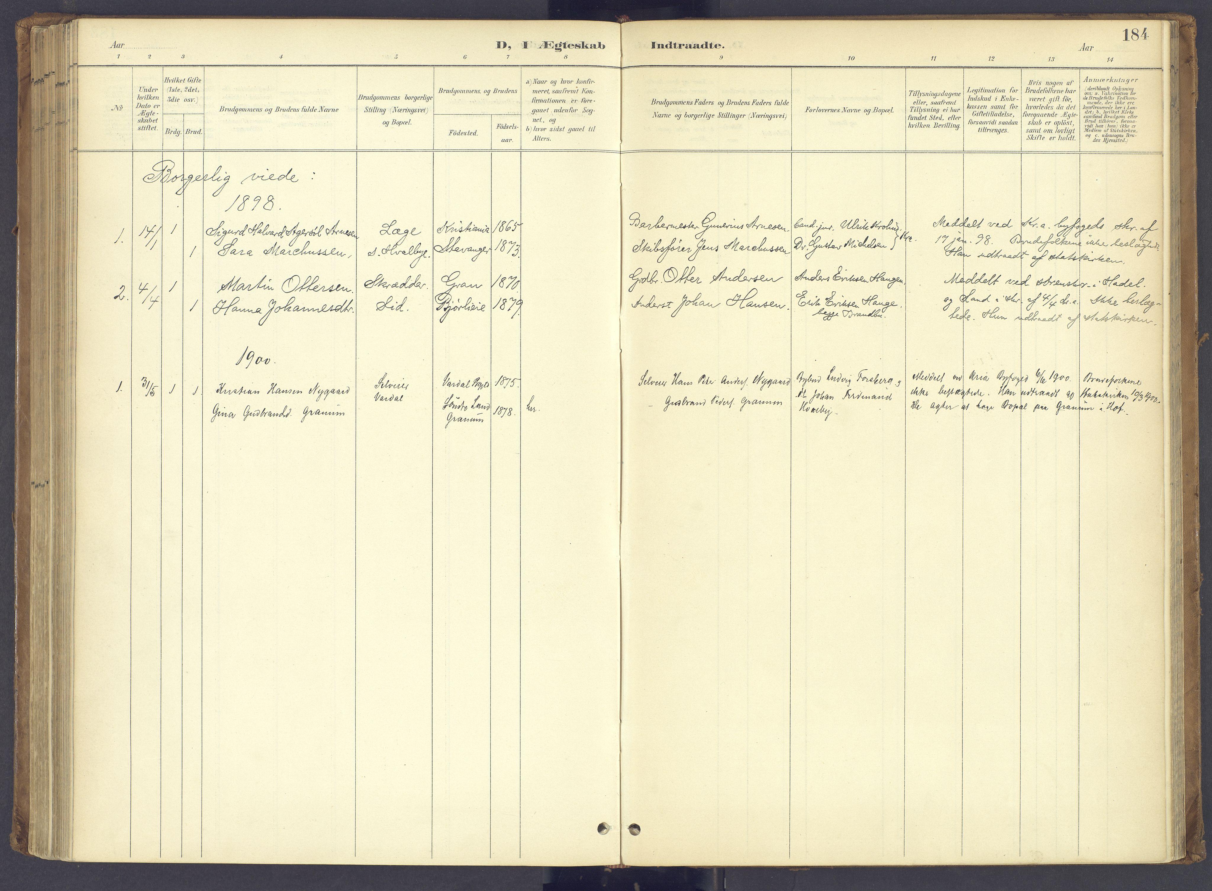 SAH, Søndre Land prestekontor, K/L0006: Ministerialbok nr. 6, 1895-1904, s. 184
